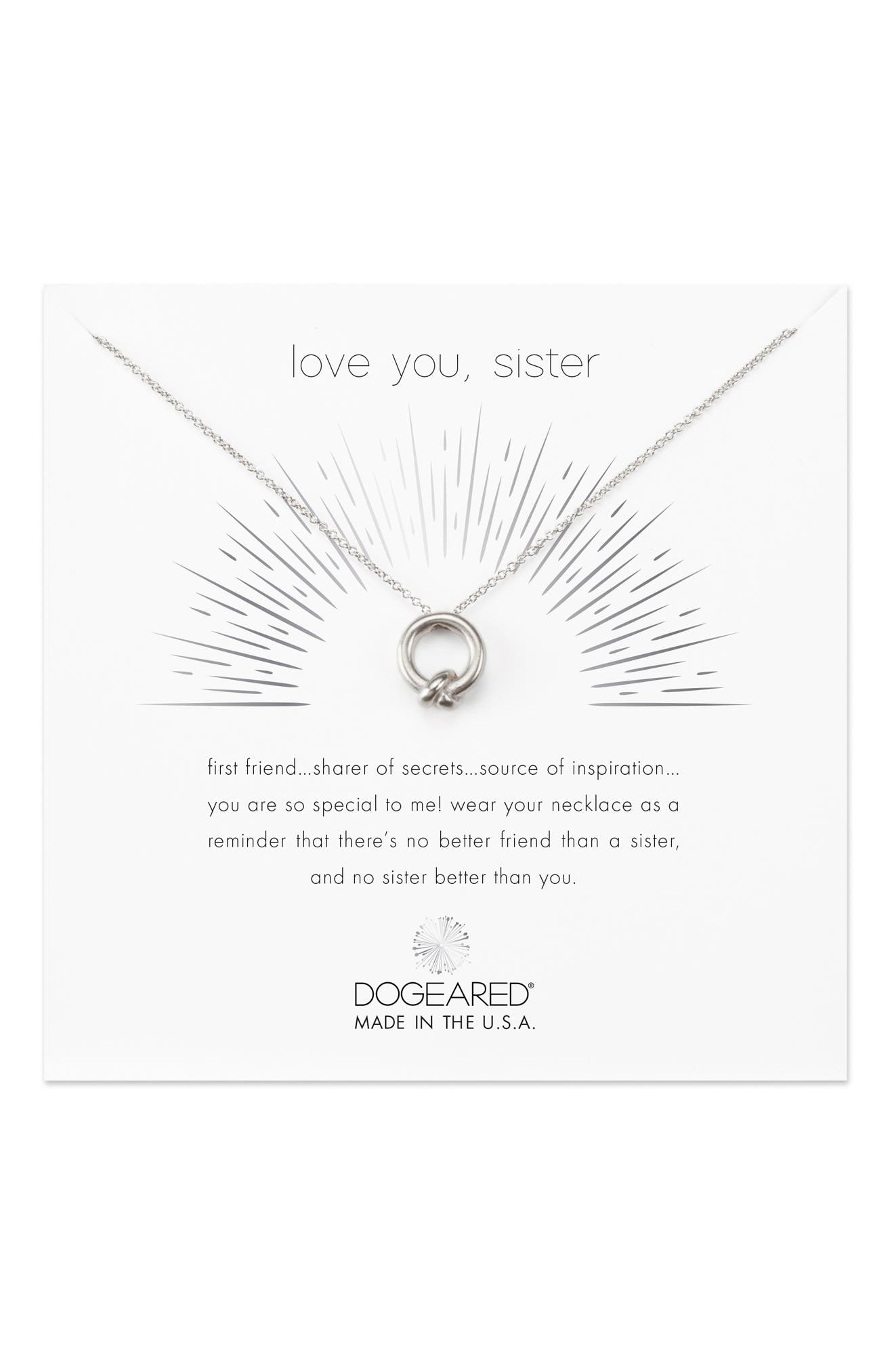 Love You, Sister Together Knot Pendant Necklace,                             Alternate thumbnail 4, color,                             040