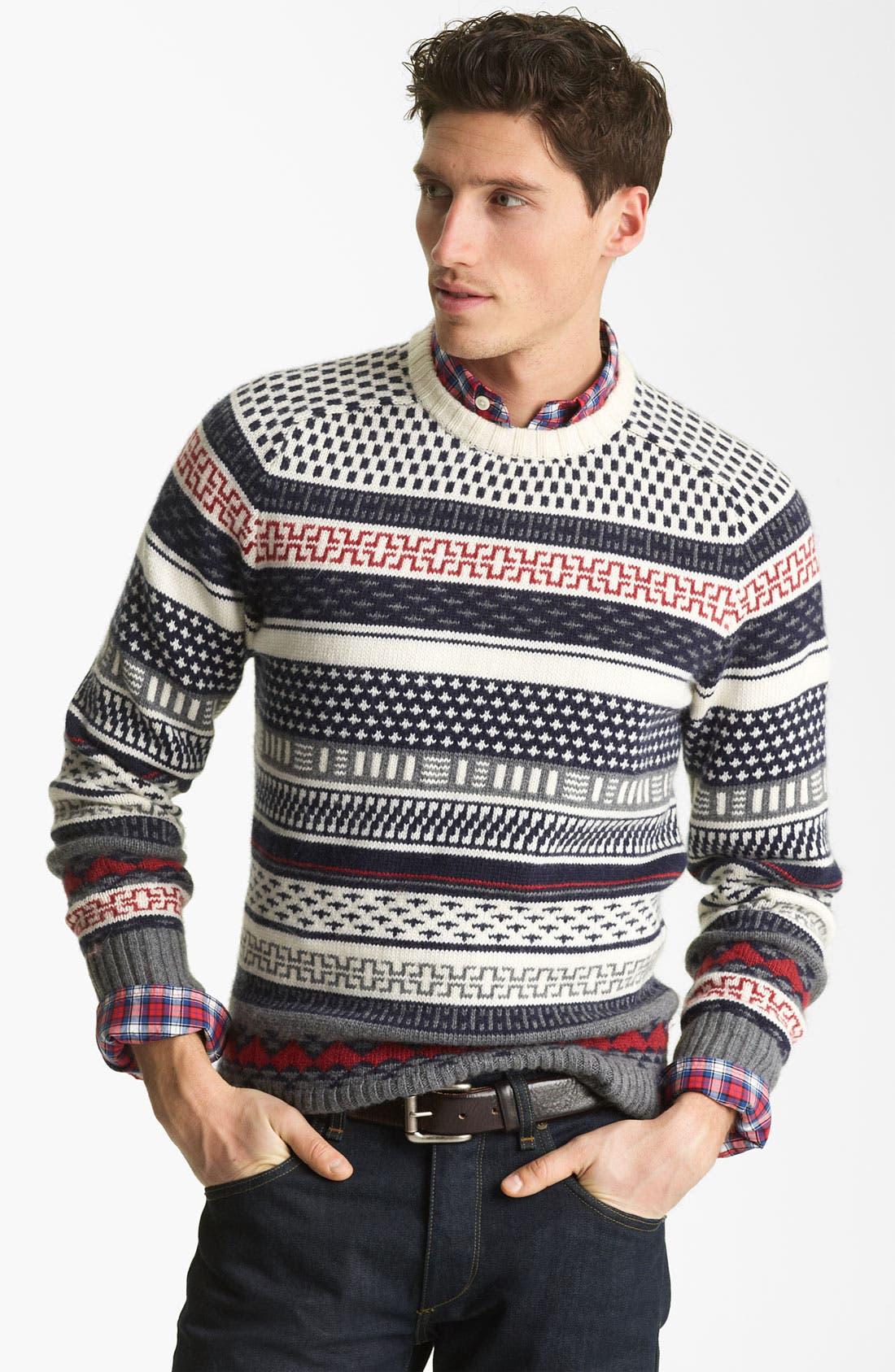 JACK SPADE,                             'Stone' Fair Isle Crewneck Sweater,                             Main thumbnail 1, color,                             142