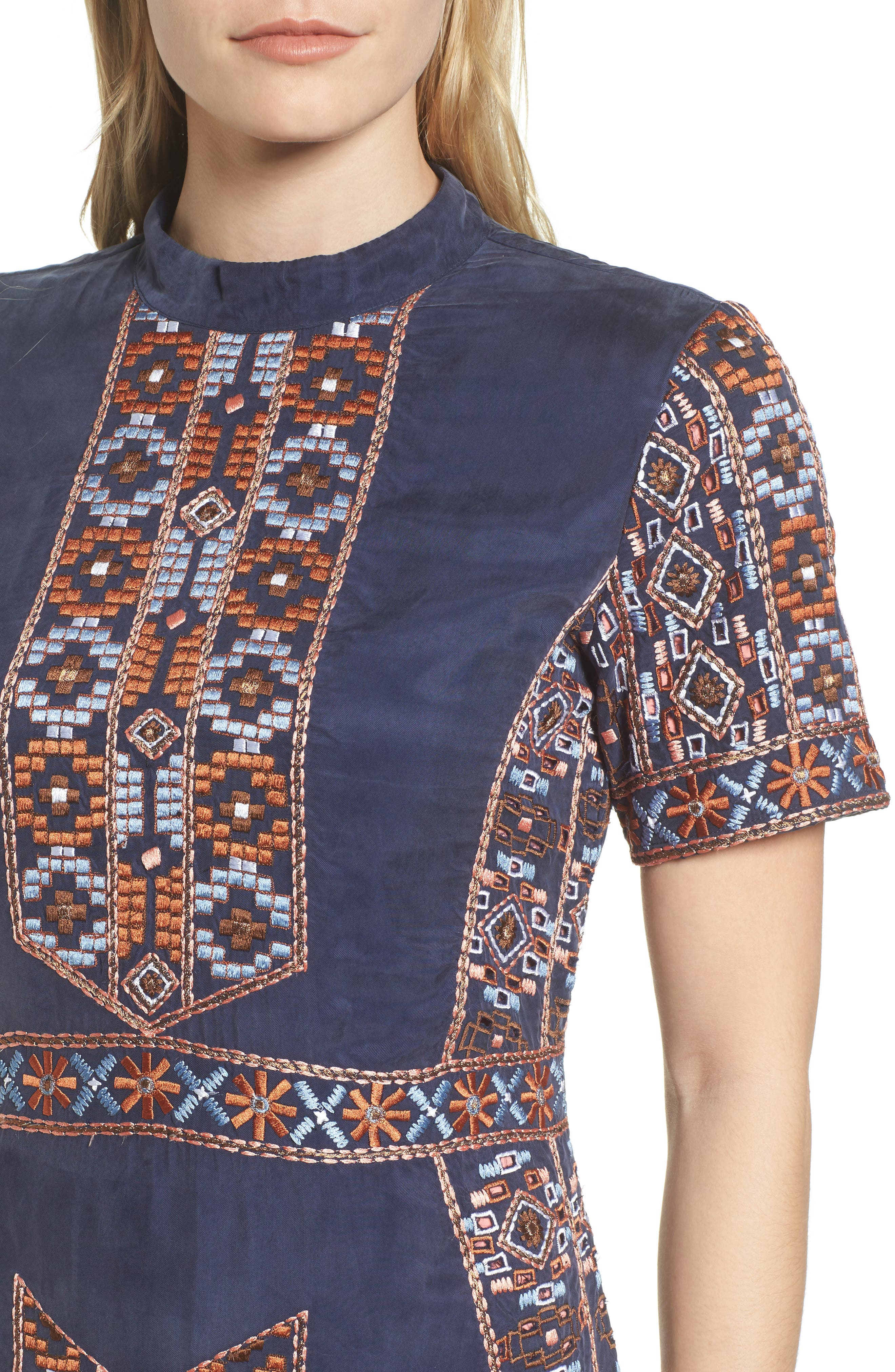 Luton Embroidered A-Line Dress,                             Alternate thumbnail 4, color,                             NAVY