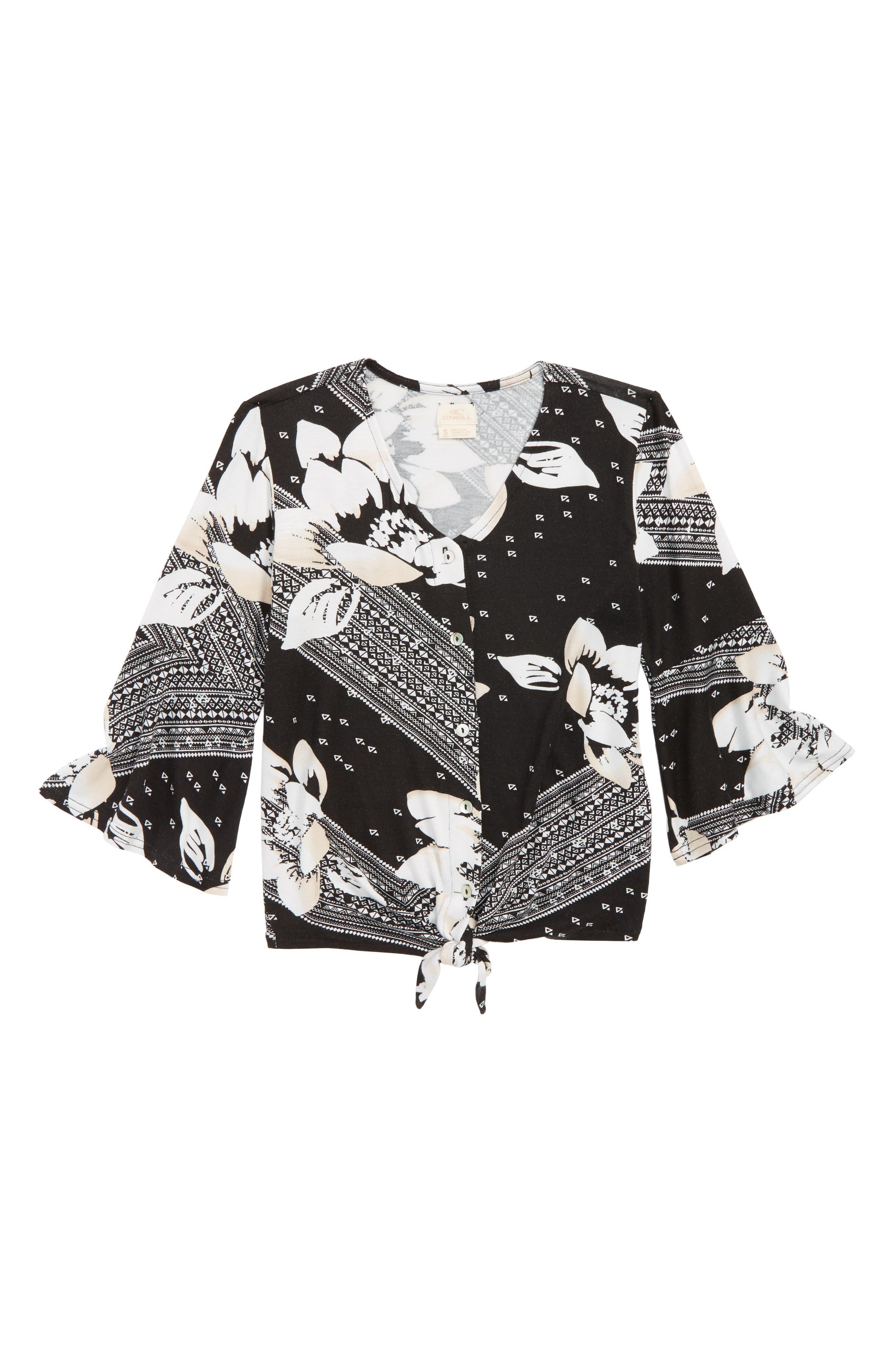June Bell Sleeve Top,                         Main,                         color, BLACK