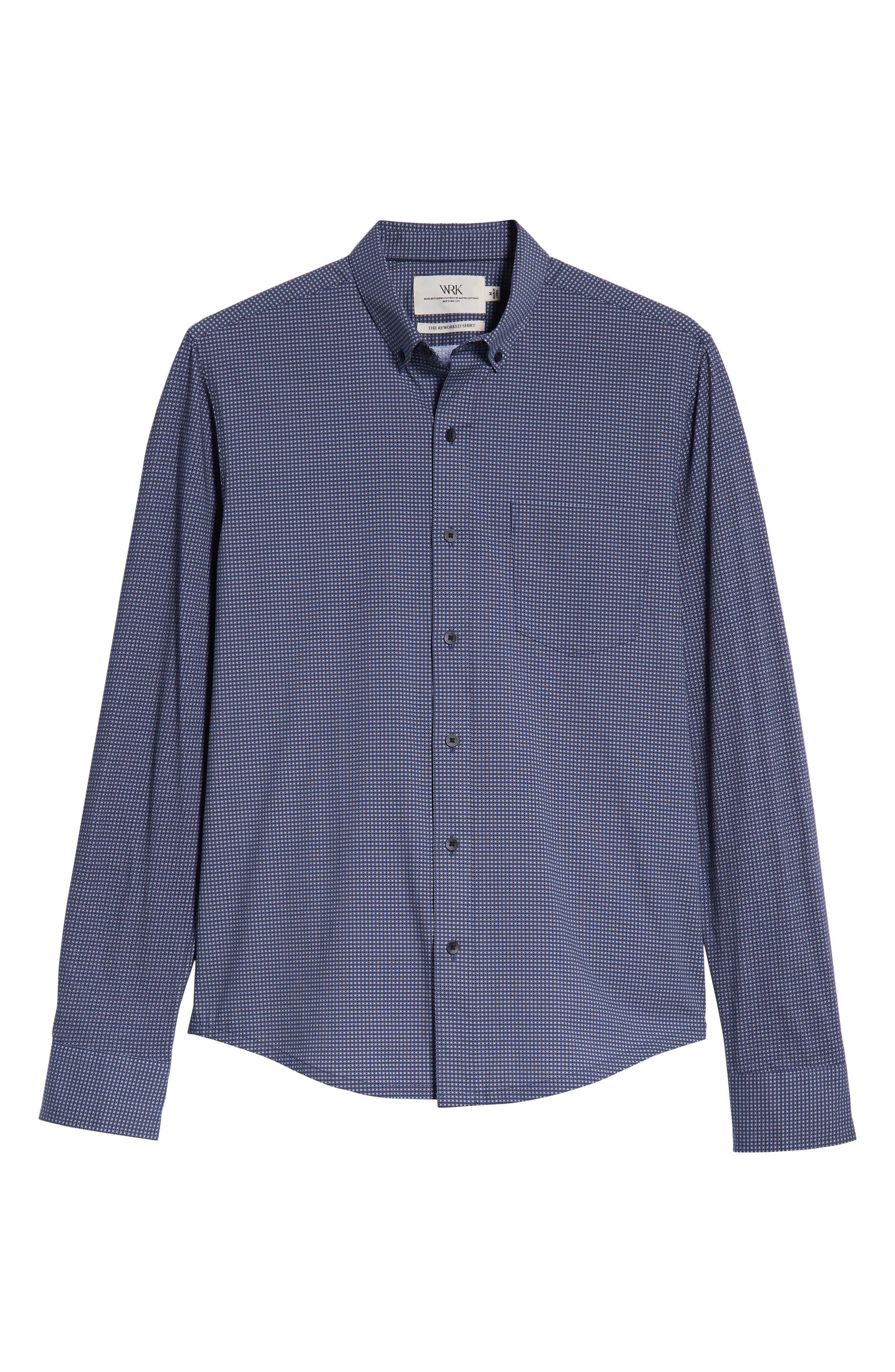Reworked Slim Fit Grid Print Sport Shirt,                             Alternate thumbnail 5, color,                             410