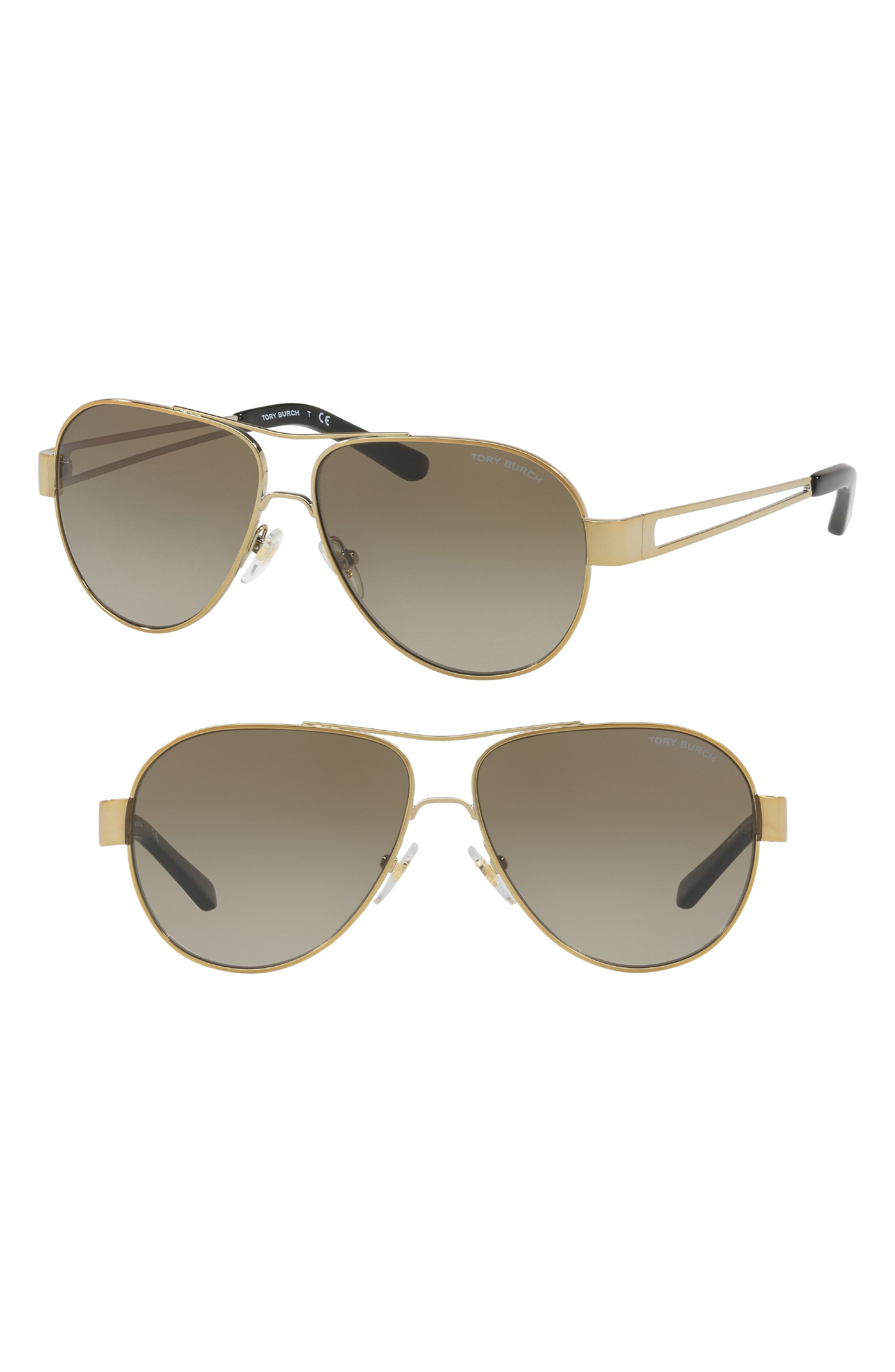 55mm Polarized Aviator Sunglasses,                             Main thumbnail 4, color,