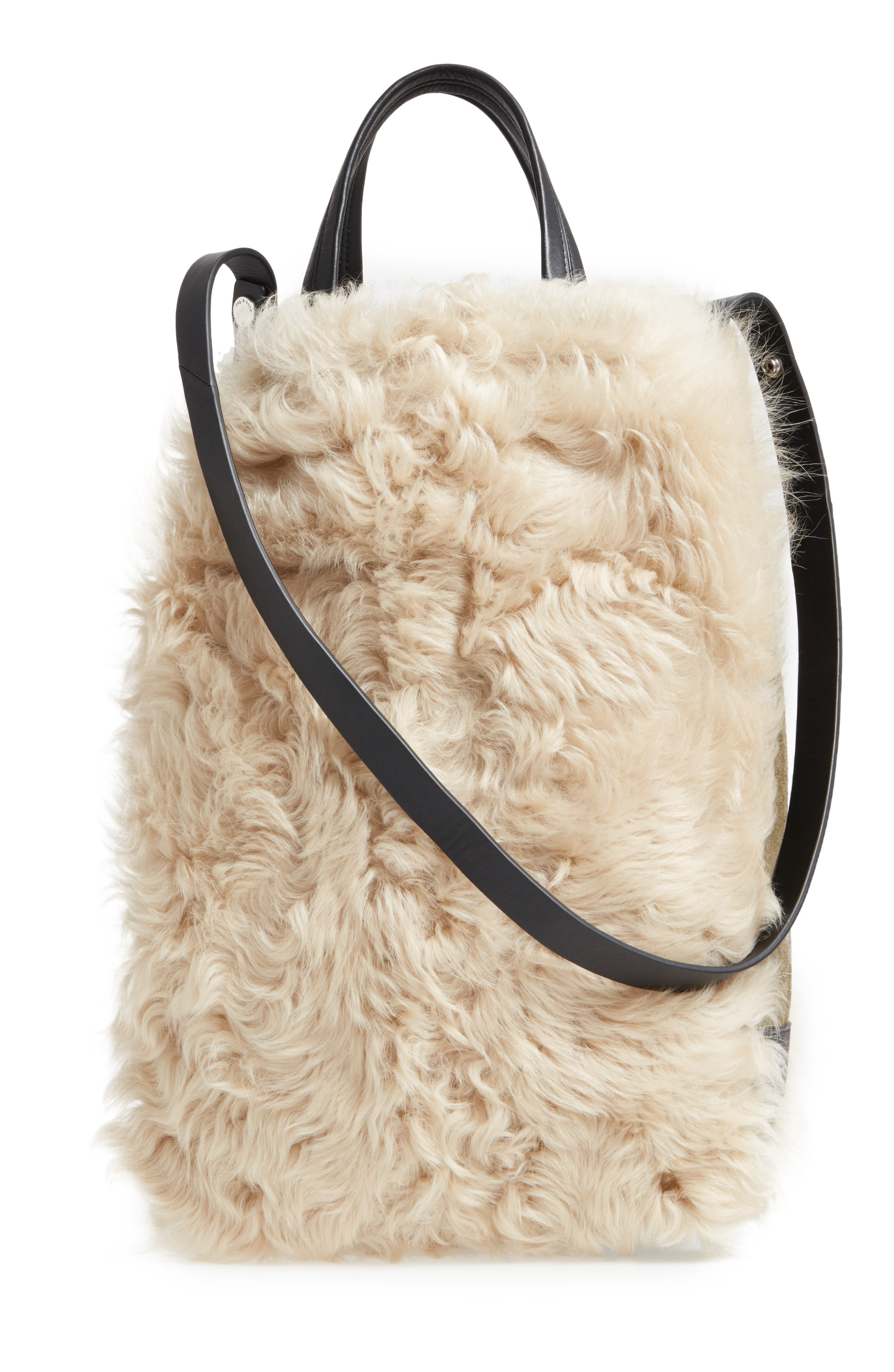 Walker Convertible Genuine Shearling & Suede Tote,                             Alternate thumbnail 3, color,                             900