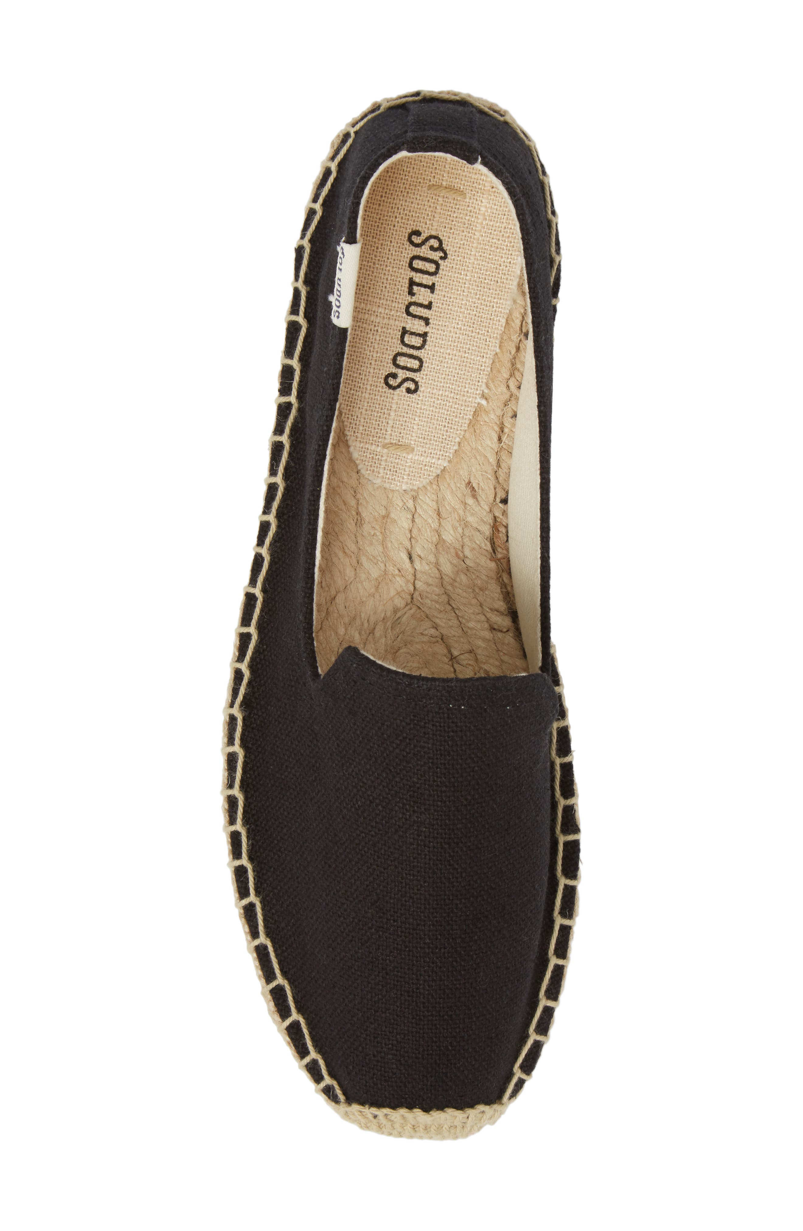 Platform Espadrille Flat,                             Alternate thumbnail 5, color,                             BLACK CANVAS