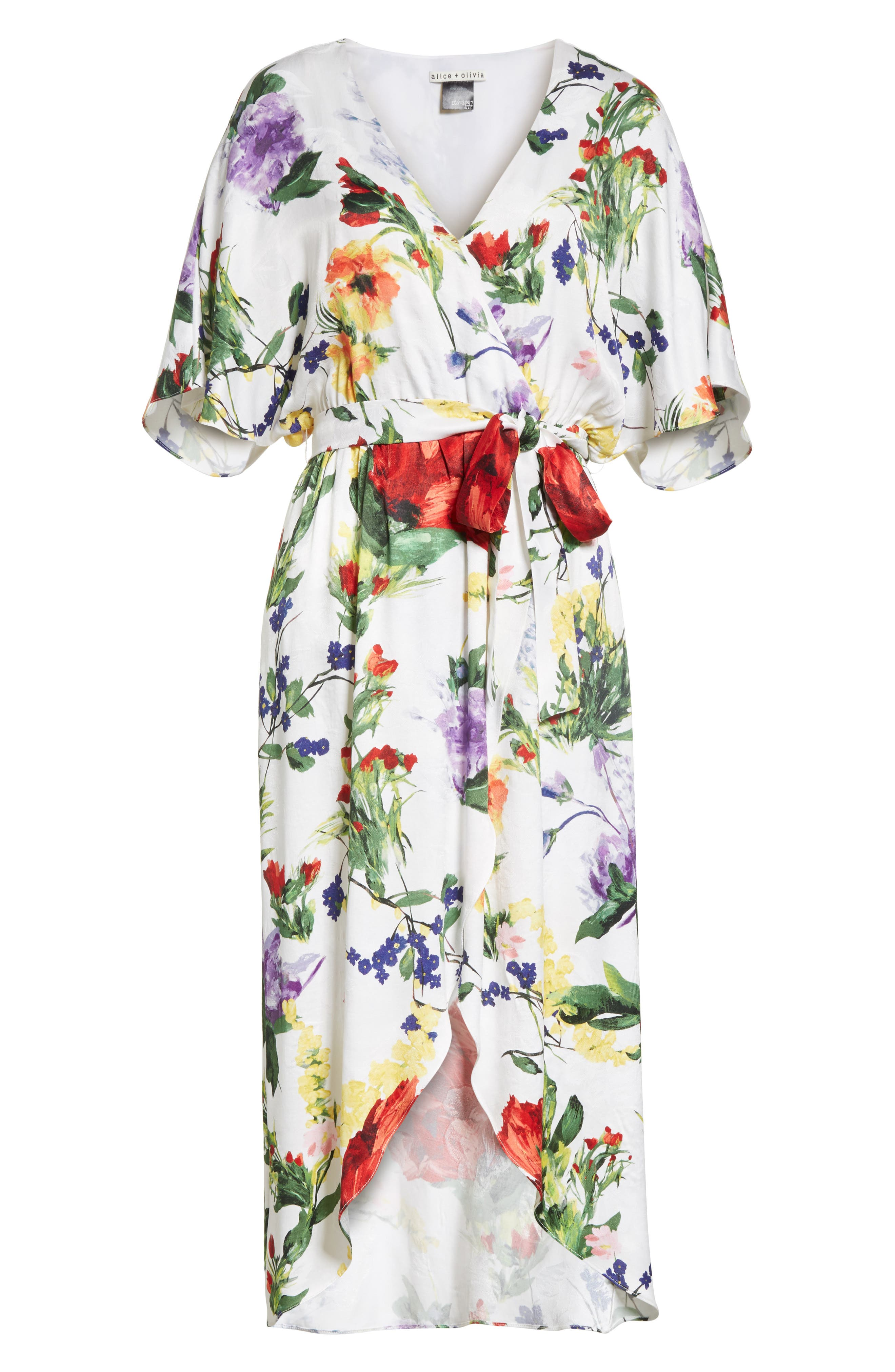Clarine Floral Wrap Midi Dress,                             Alternate thumbnail 6, color,                             176