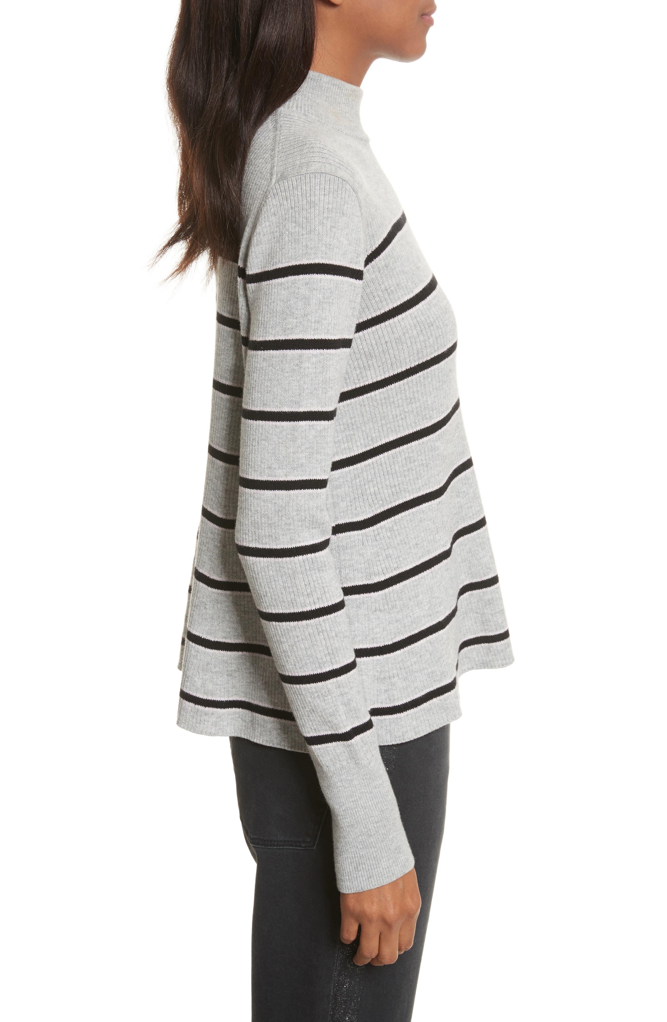 Mock Neck Stripe Pullover,                             Alternate thumbnail 3, color,                             663