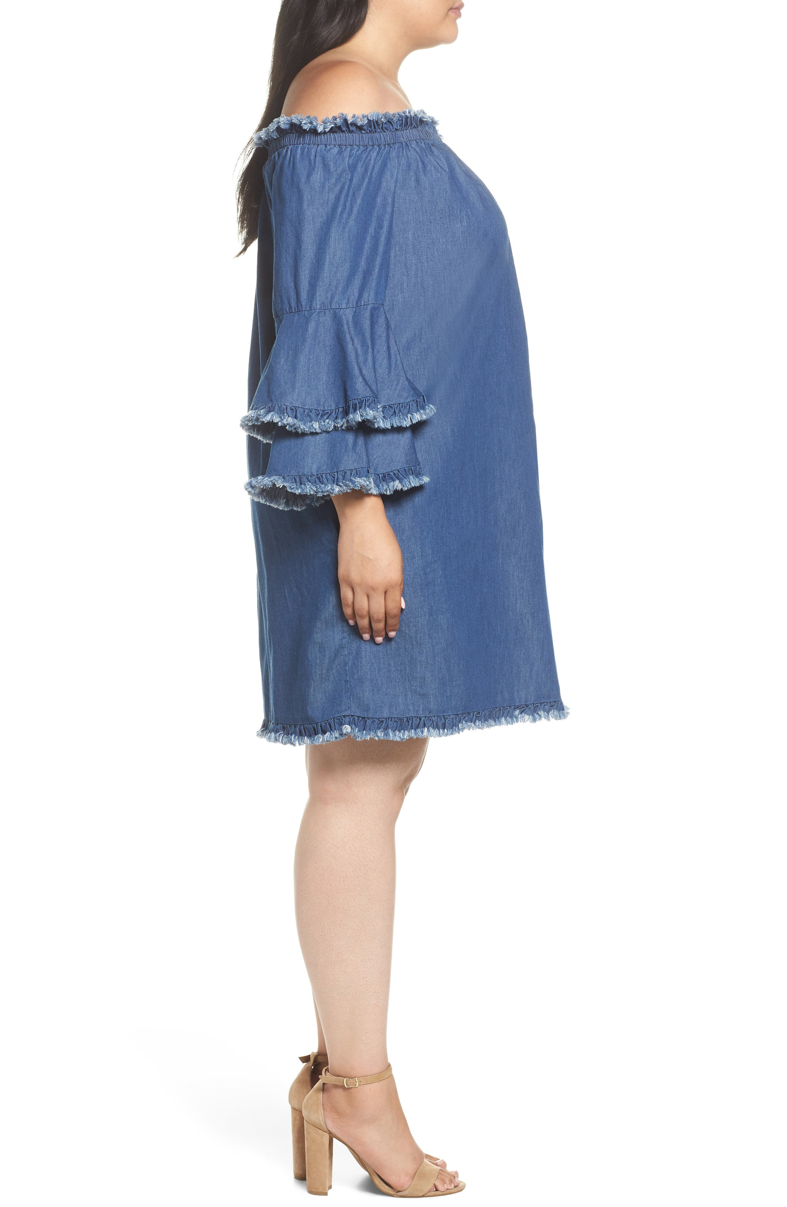 Bell Sleeve Off the Shoulder Denim Shift Dress,                             Alternate thumbnail 3, color,                             INDIGO