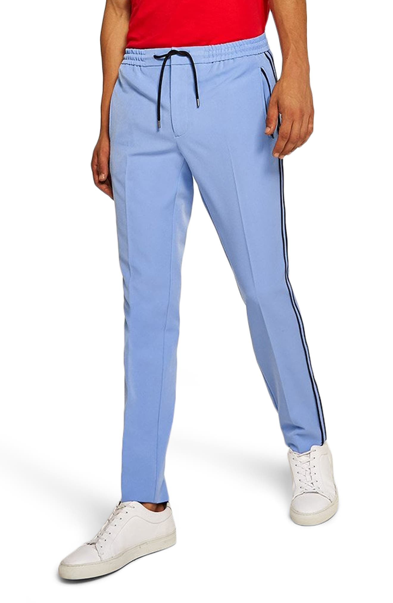 Binding Skinny Fit Jogger Pants,                         Main,                         color, MID BLUE