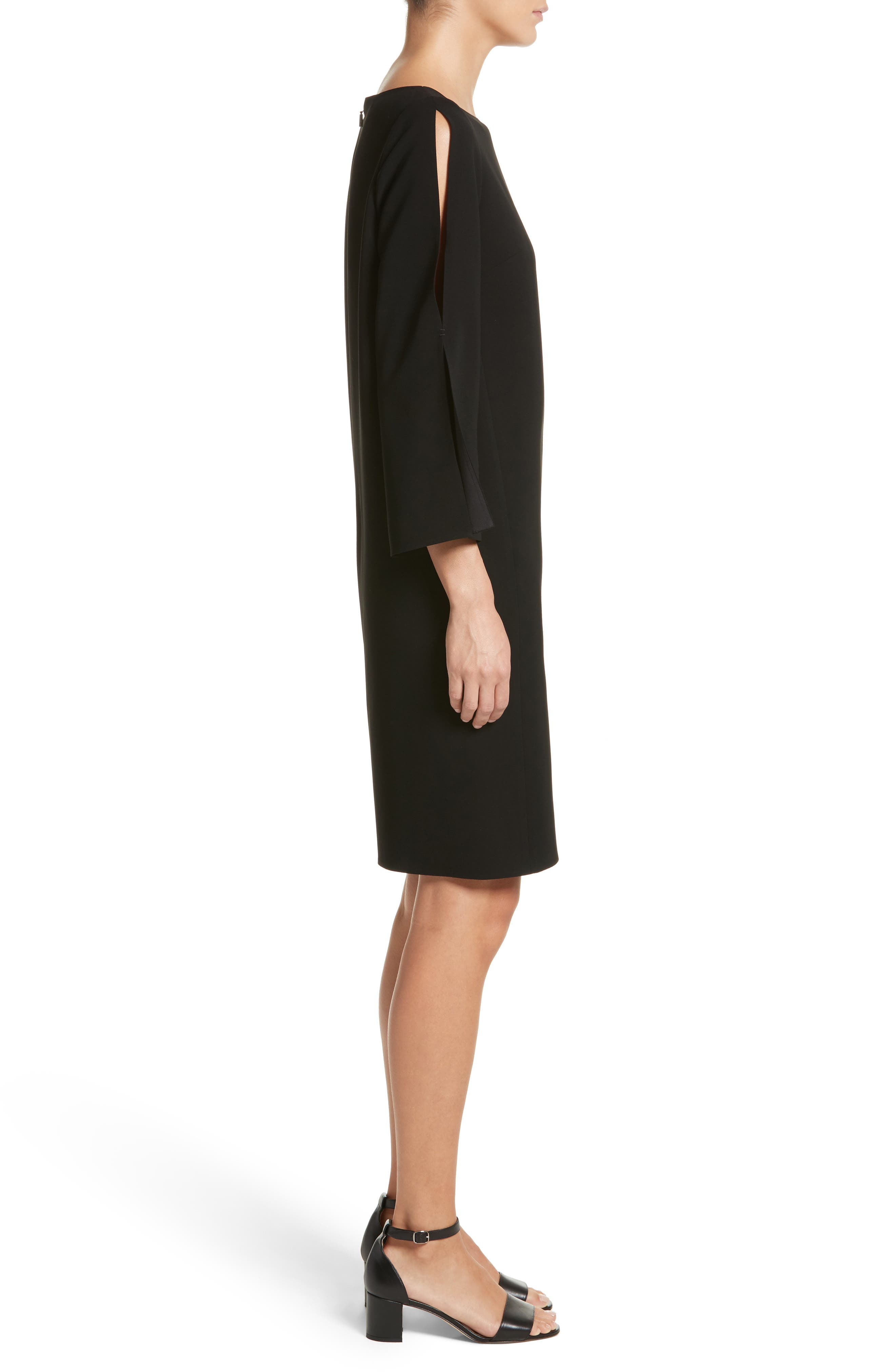 LAFAYETTE 148 NEW YORK,                             Candace Finesse Crepe Shift Dress,                             Alternate thumbnail 3, color,                             001