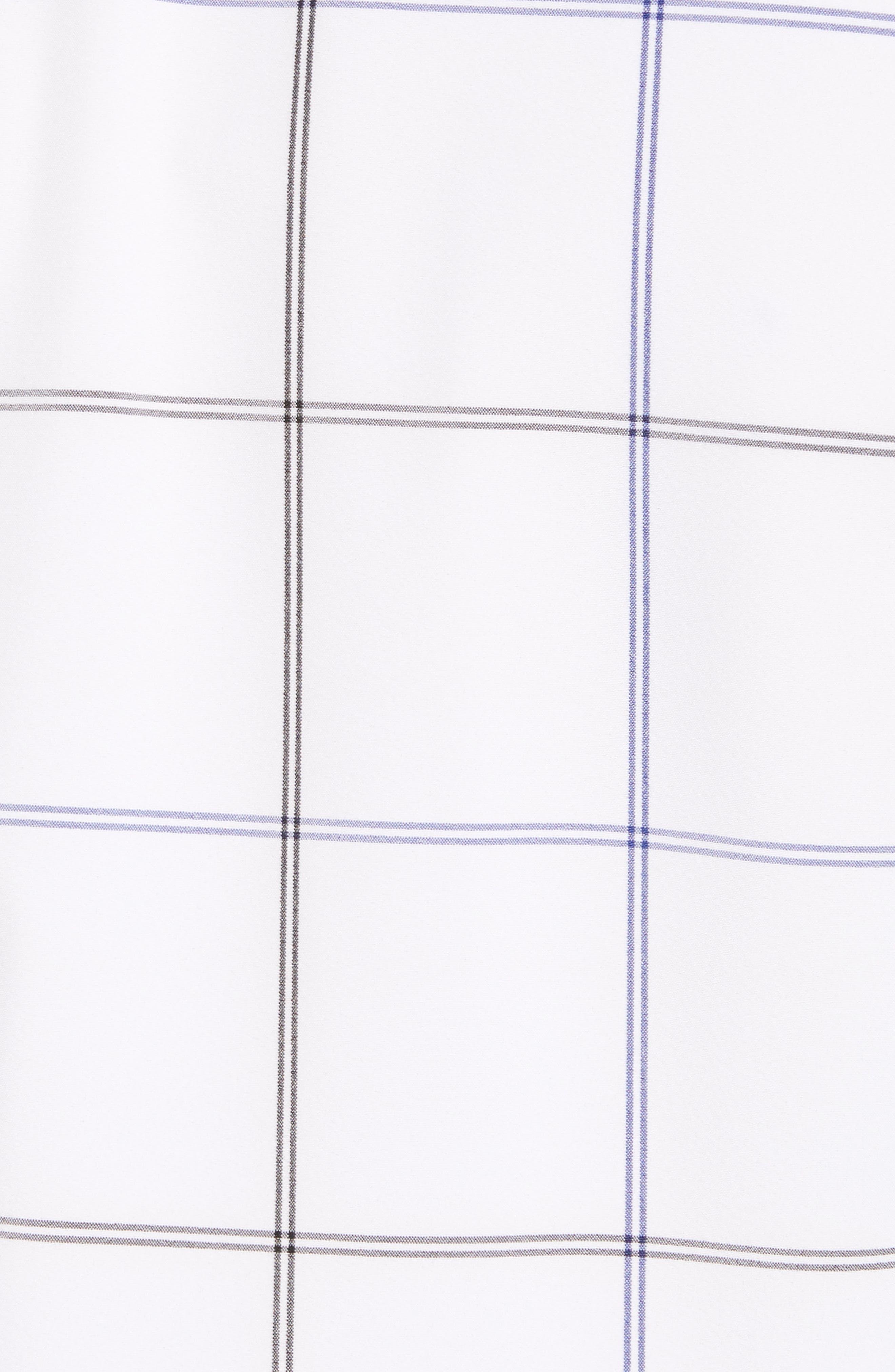 Crossman Slim Fit Grid Performance Sport Shirt,                             Alternate thumbnail 5, color,                             WHITE