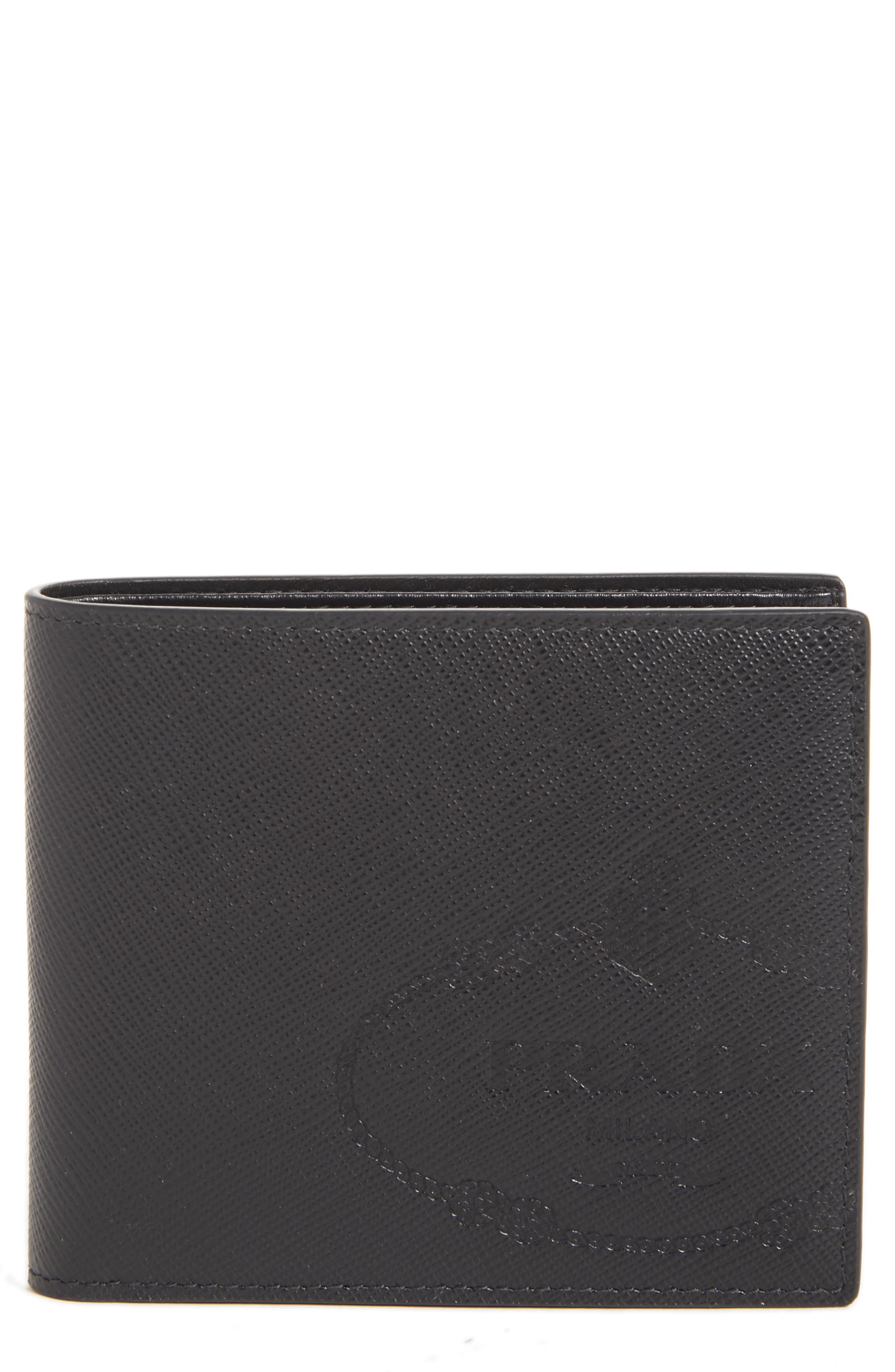 Saffiano Leather Bifold Wallet,                             Main thumbnail 1, color,                             BLACK