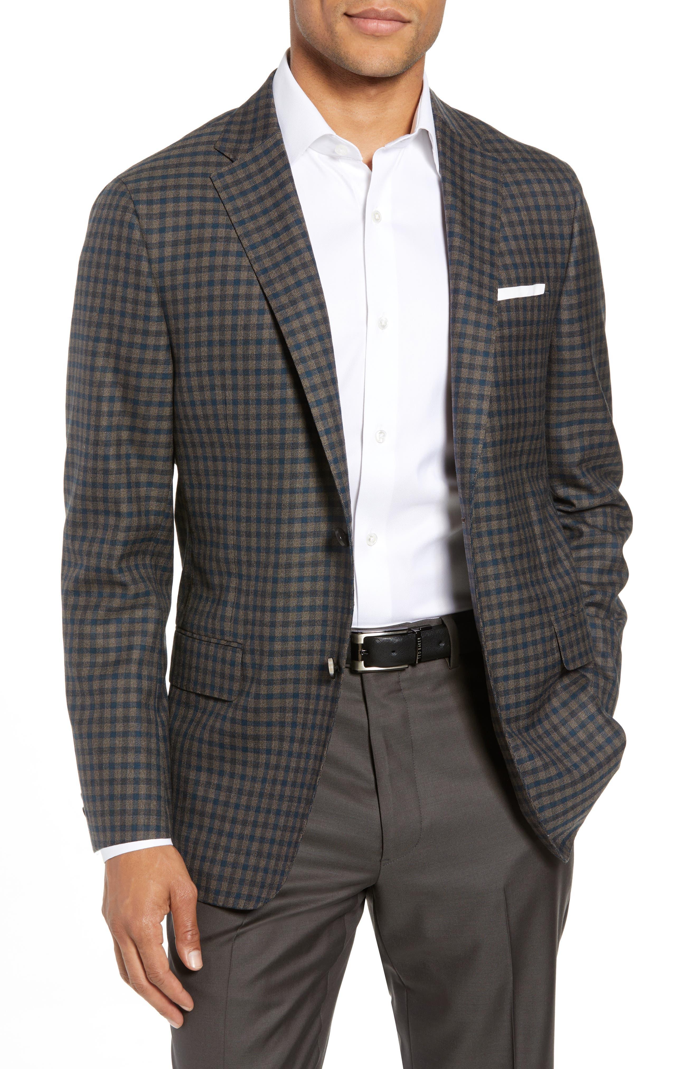 Classic B-Fit Check Wool Sport Coat,                         Main,                         color, MEDIUM BROWN