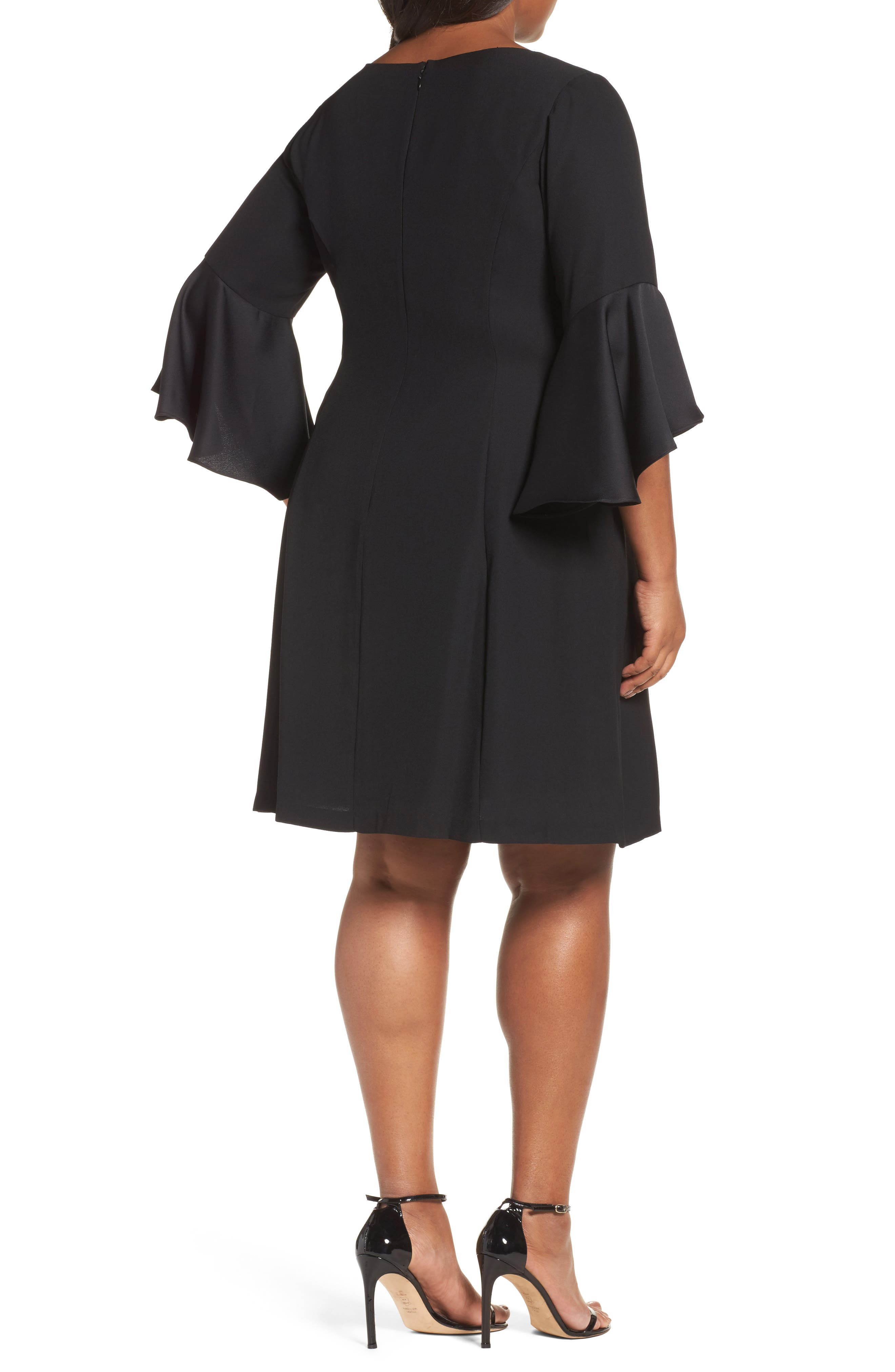 Bell Sleeve A-Line Dress,                             Alternate thumbnail 2, color,                             002