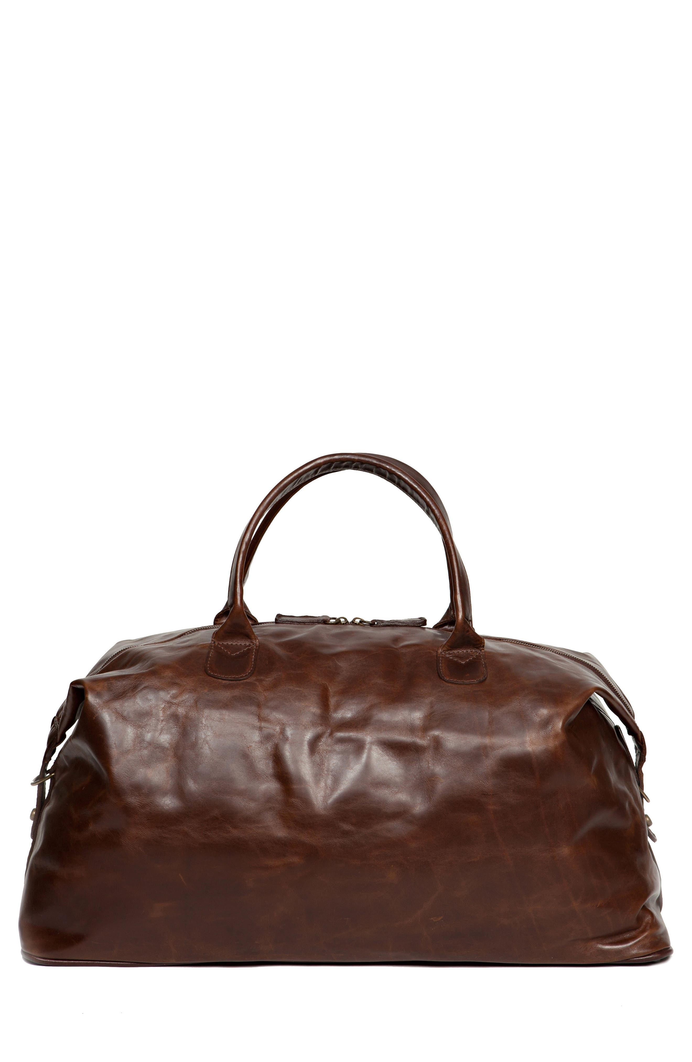 Benedict Leather Duffel Bag,                             Main thumbnail 1, color,                             BROMPTON BROWN