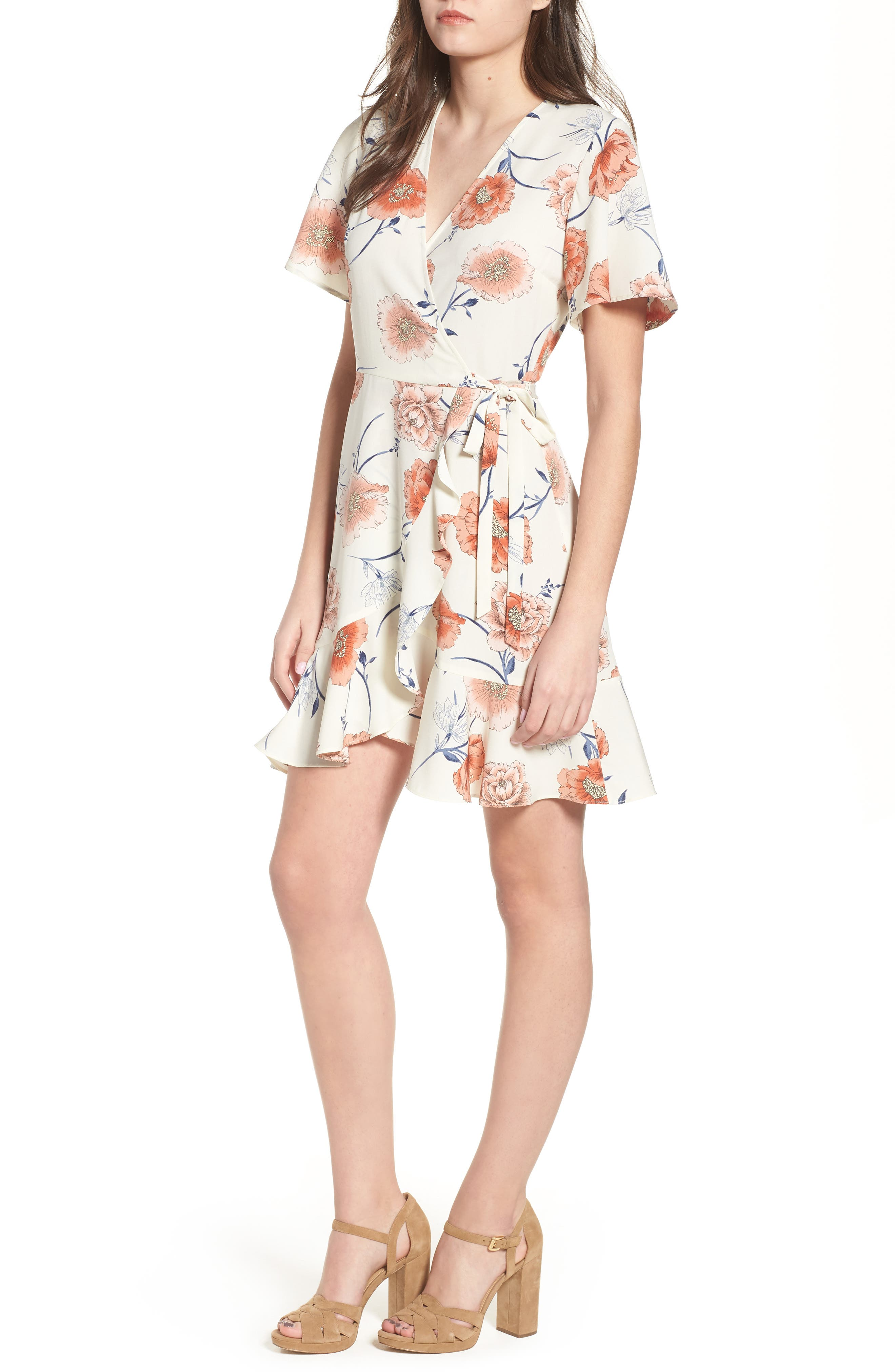Lucy Floral Wrap Dress,                             Main thumbnail 4, color,