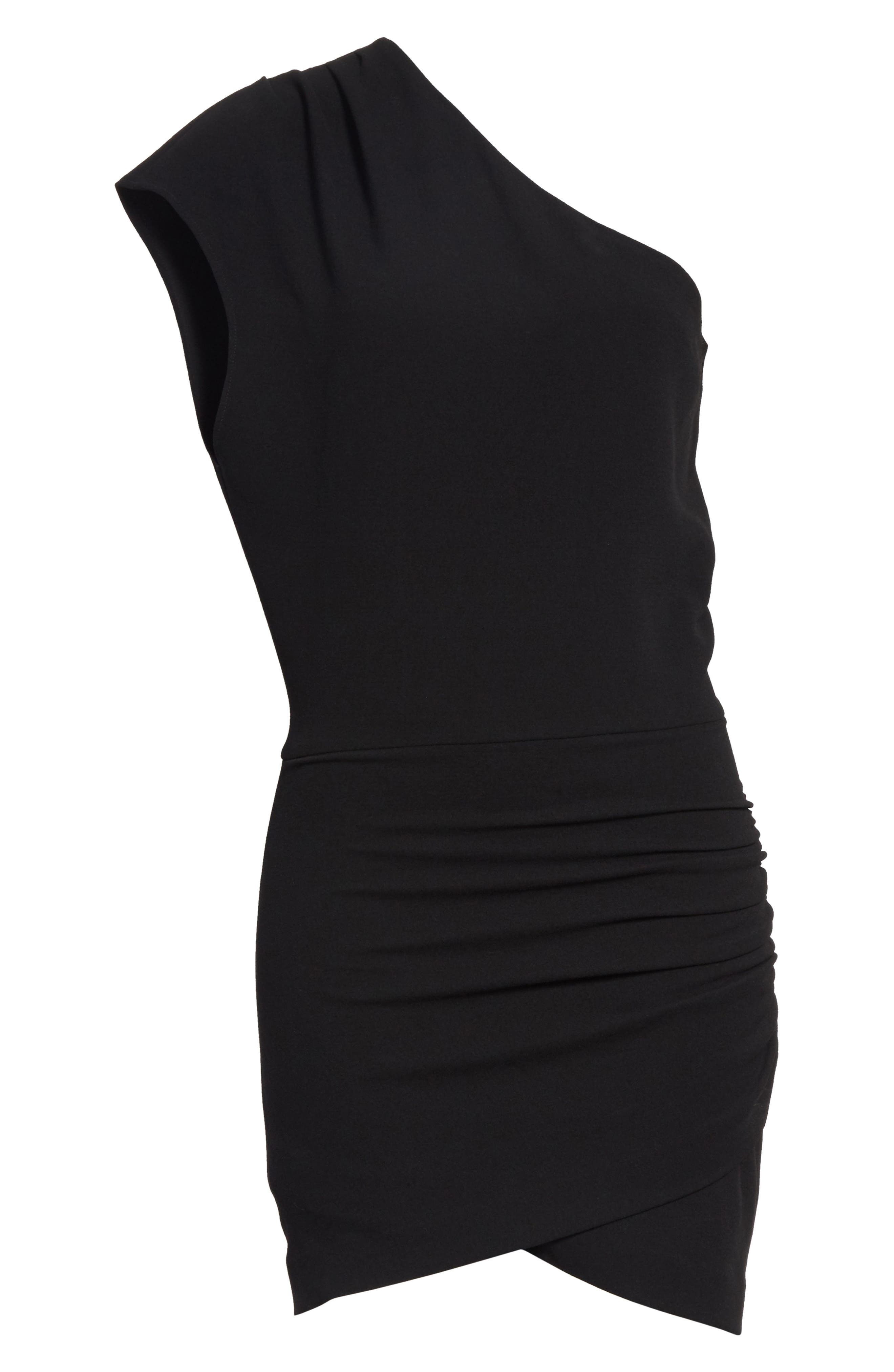 Davov One-Shoulder Envelope Hem Dress,                             Alternate thumbnail 6, color,                             001