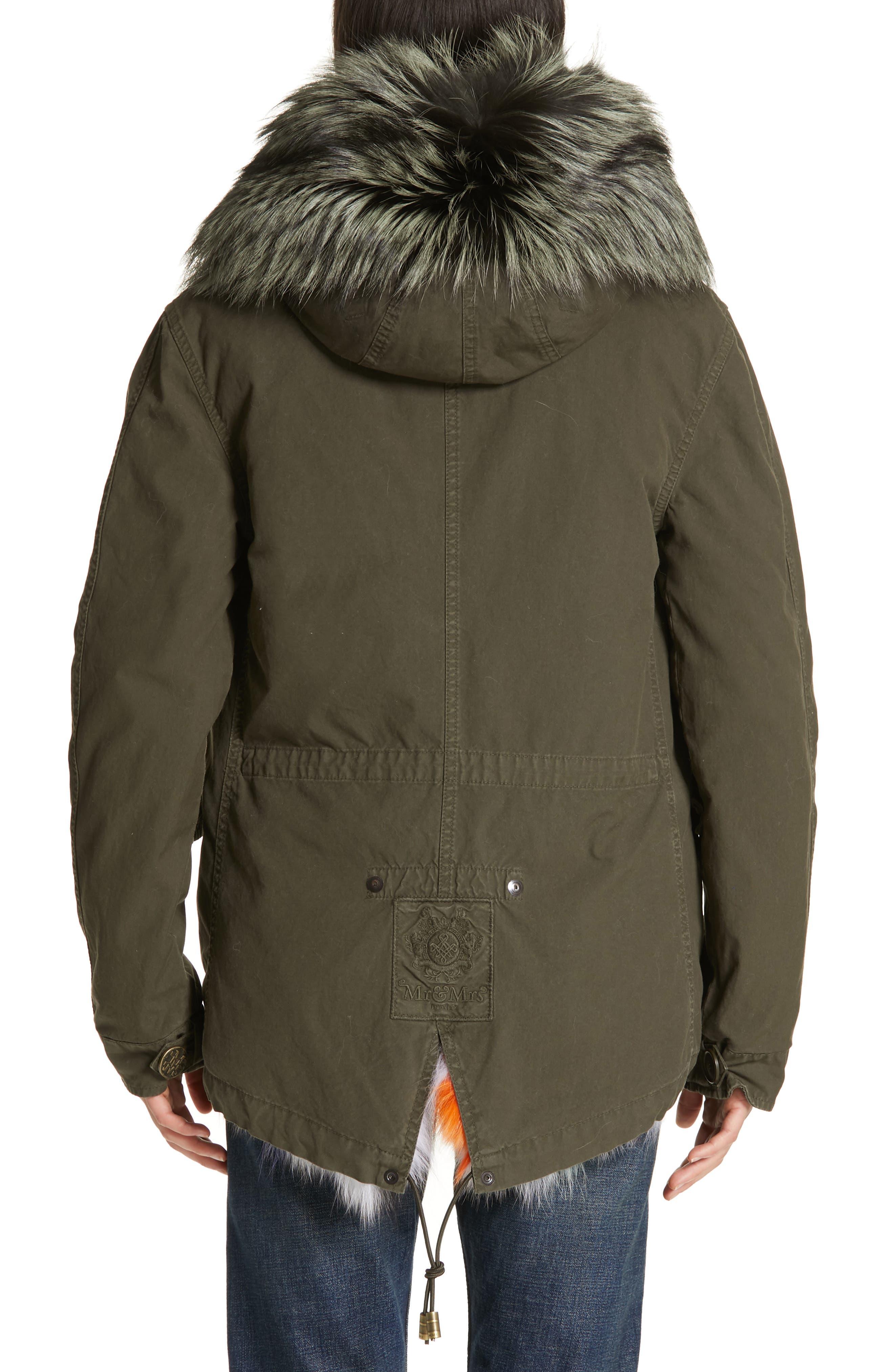 Genuine Fox Fur Trim Parka,                             Alternate thumbnail 3, color,                             ARMY