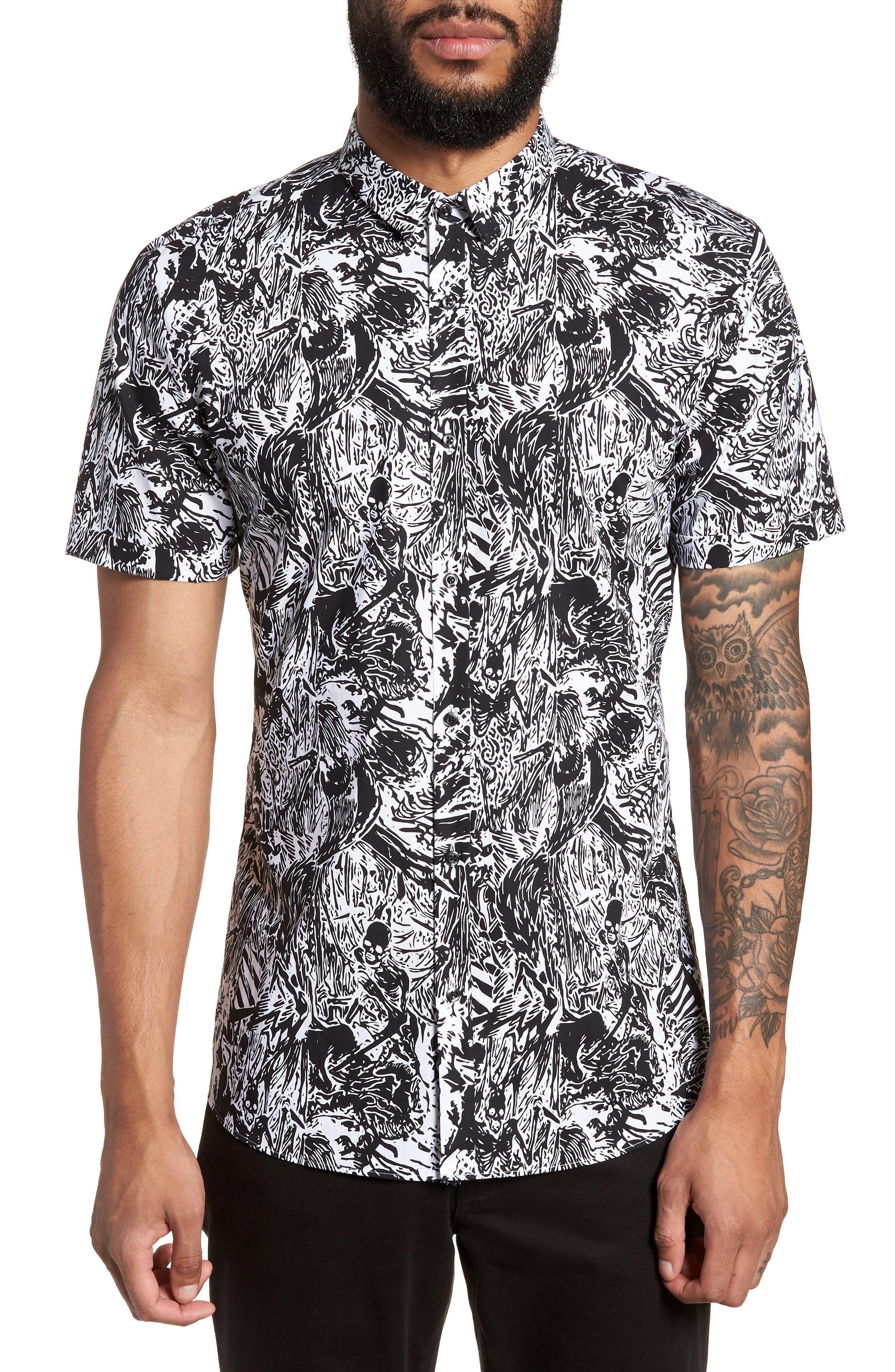 Empson Trim Fit Print Short Sleeve Sport Shirt,                         Main,                         color,