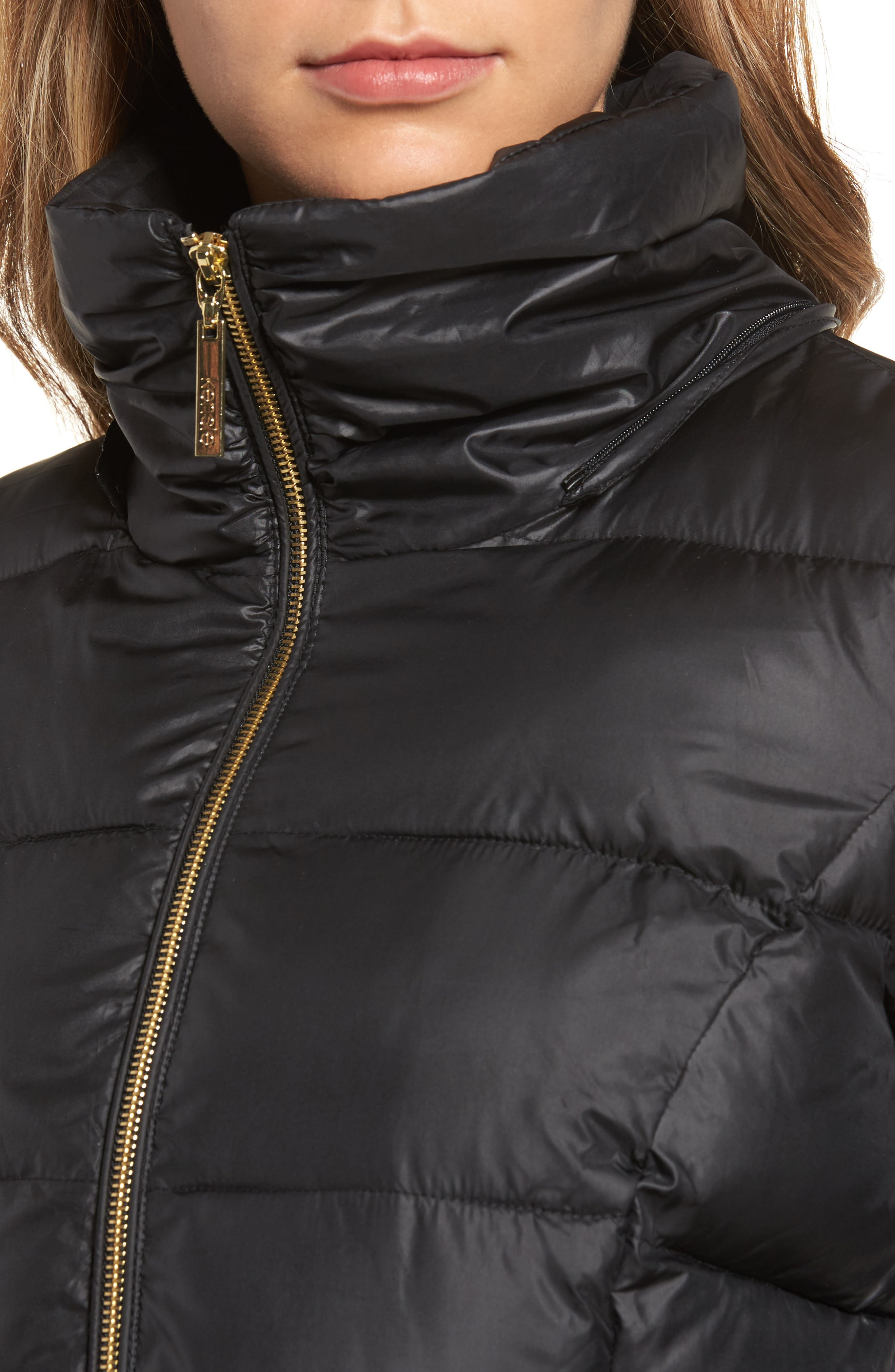Lace Sleeve Puffer Coat with Faux Fur Trim Hood,                             Alternate thumbnail 7, color,
