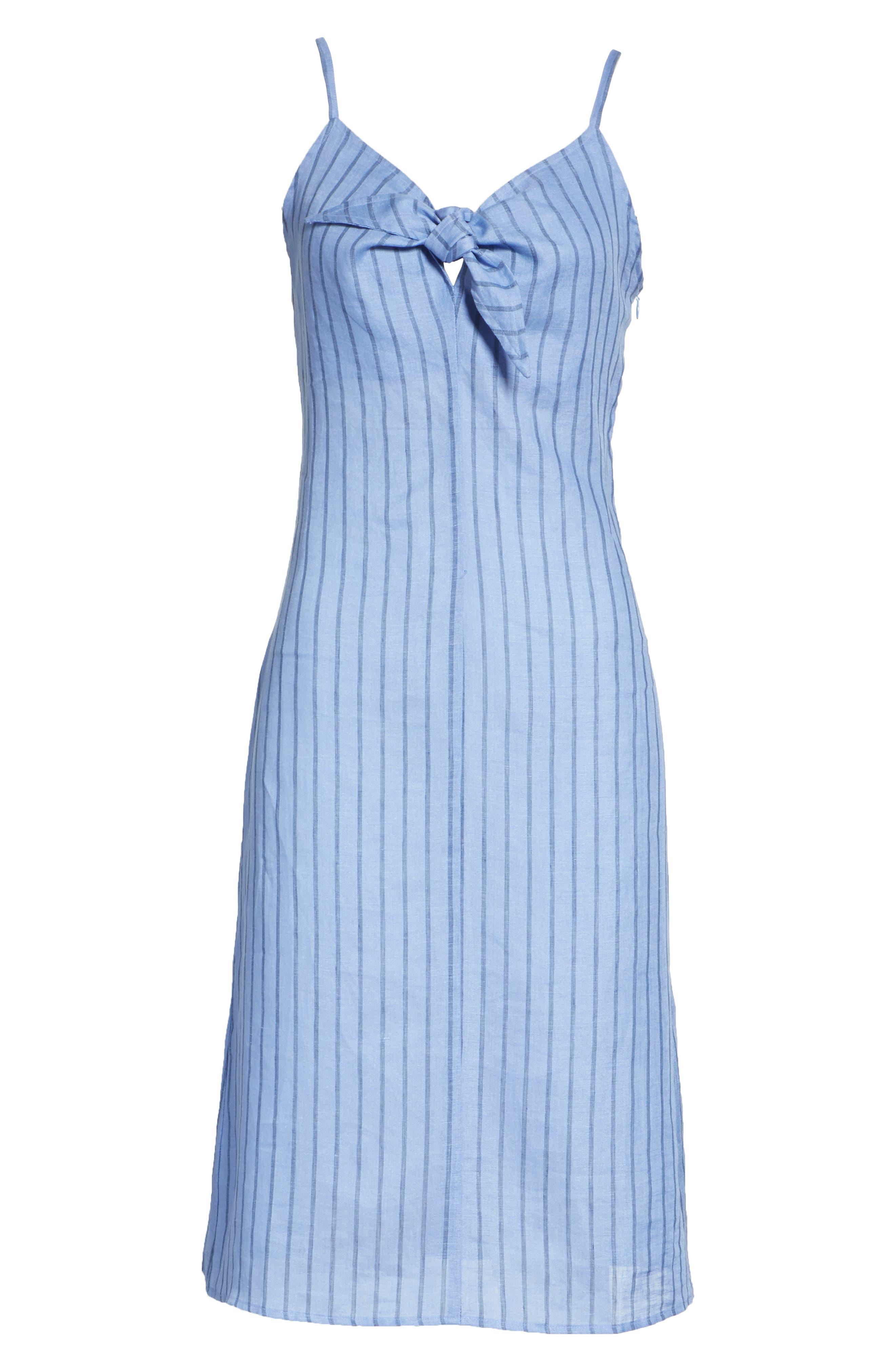 Oriska Stripe Linen Slipdress,                             Alternate thumbnail 6, color,                             400