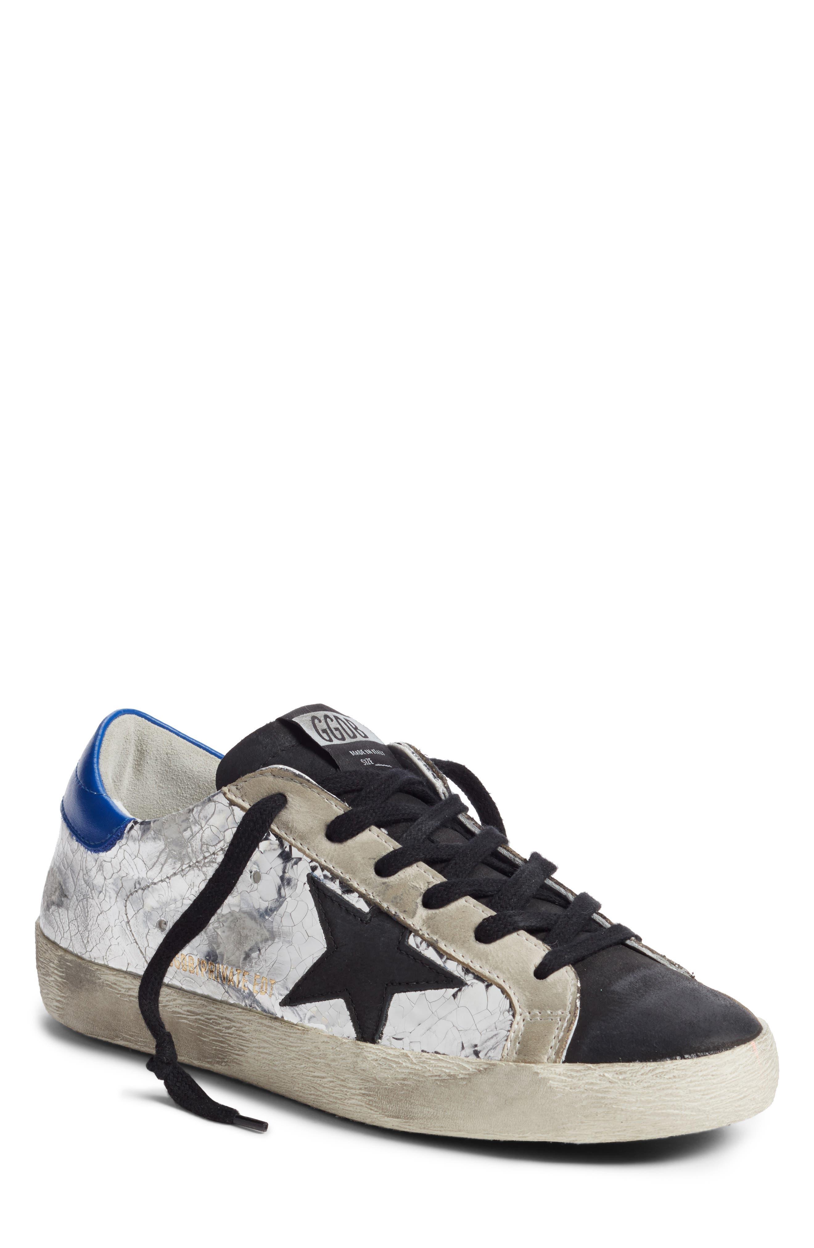 GOLDEN GOOSE Superstar Sneaker, Main, color, SILVER/ BLUE