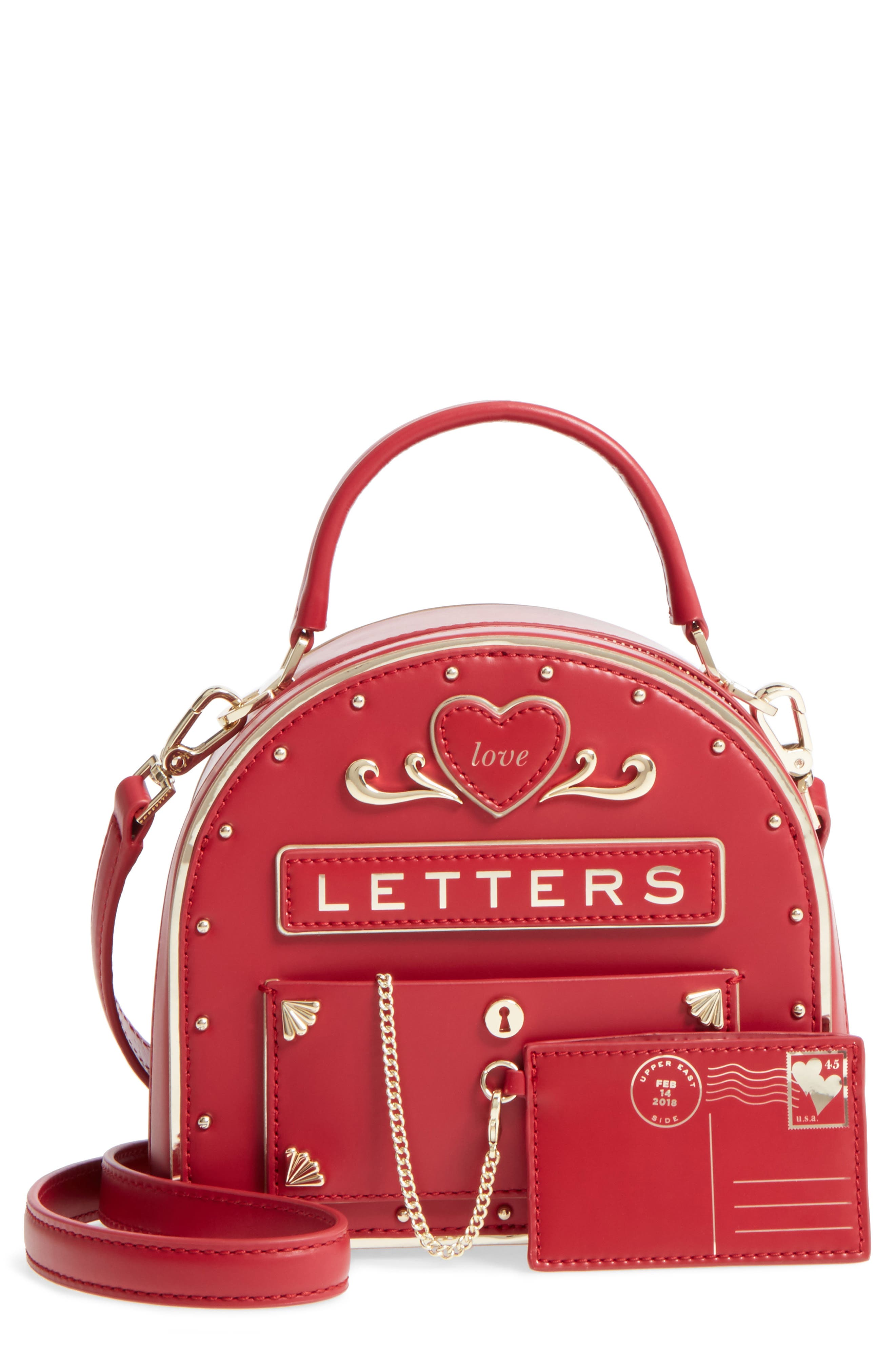yours truly leather mailbox crossbody bag,                             Main thumbnail 1, color,