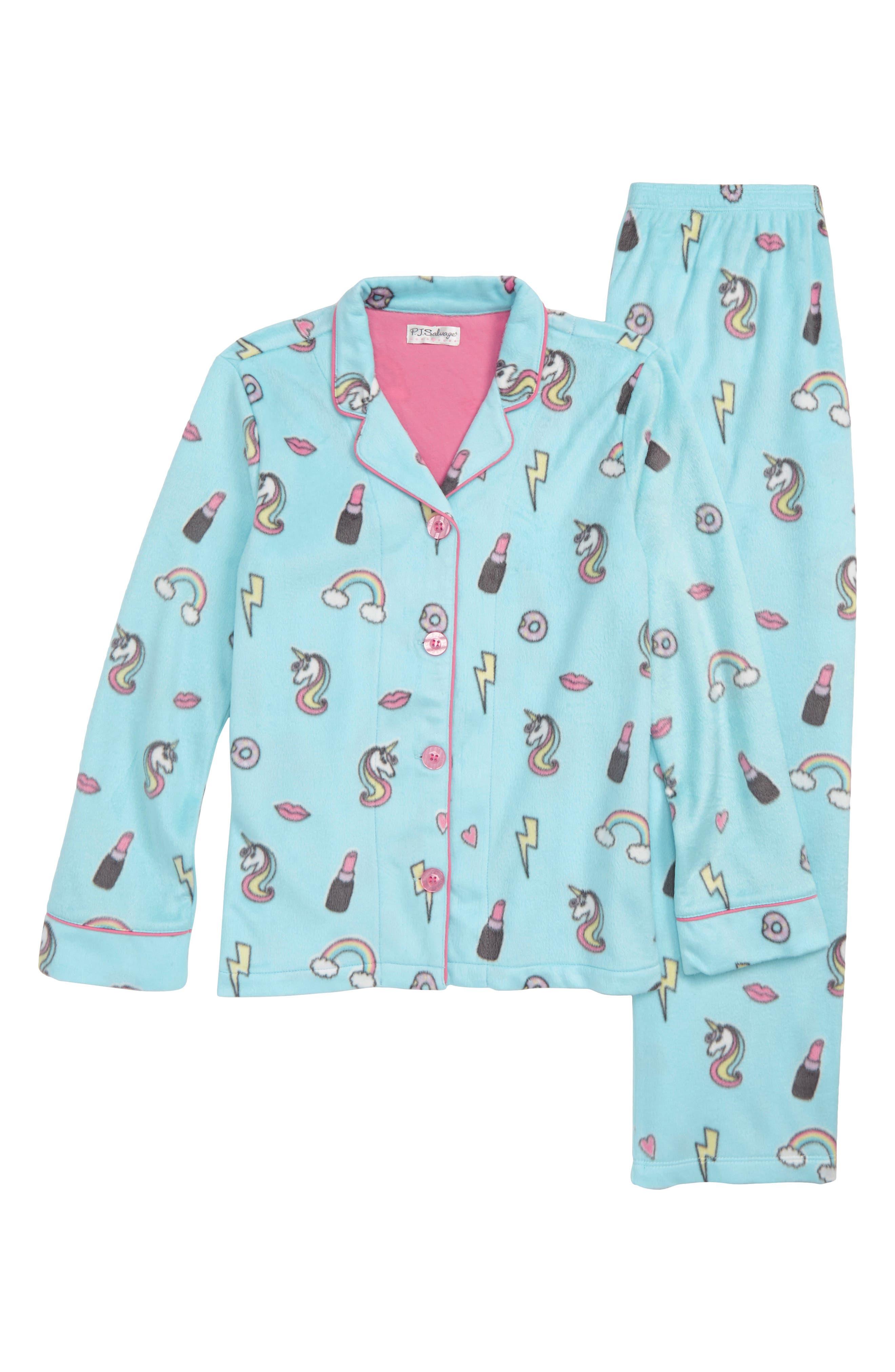 Girl Power Two-Piece Fleece Pajamas,                         Main,                         color, AQUA