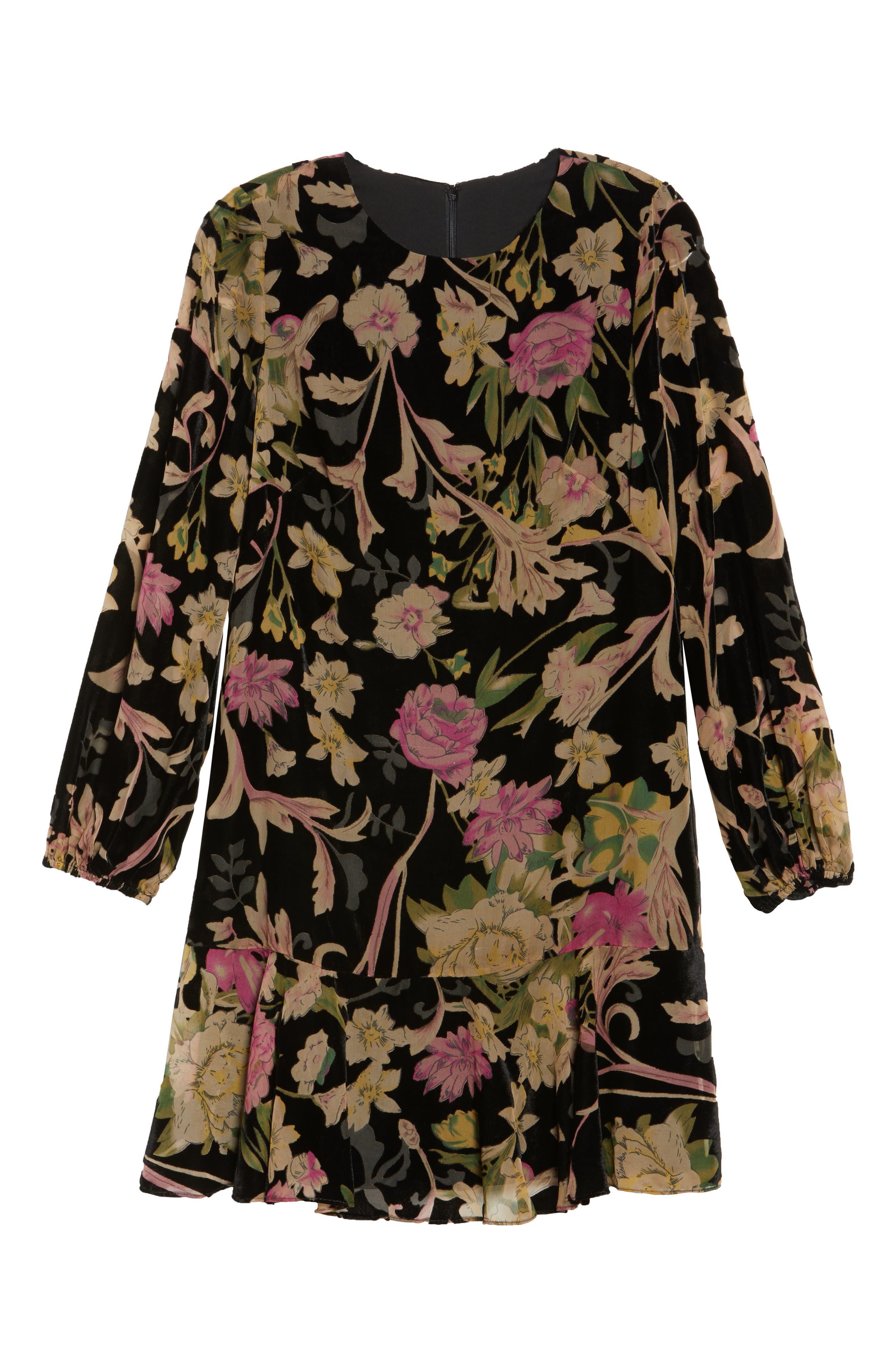 Floral Print Velvet Shift Dress,                             Alternate thumbnail 7, color,                             BLACK