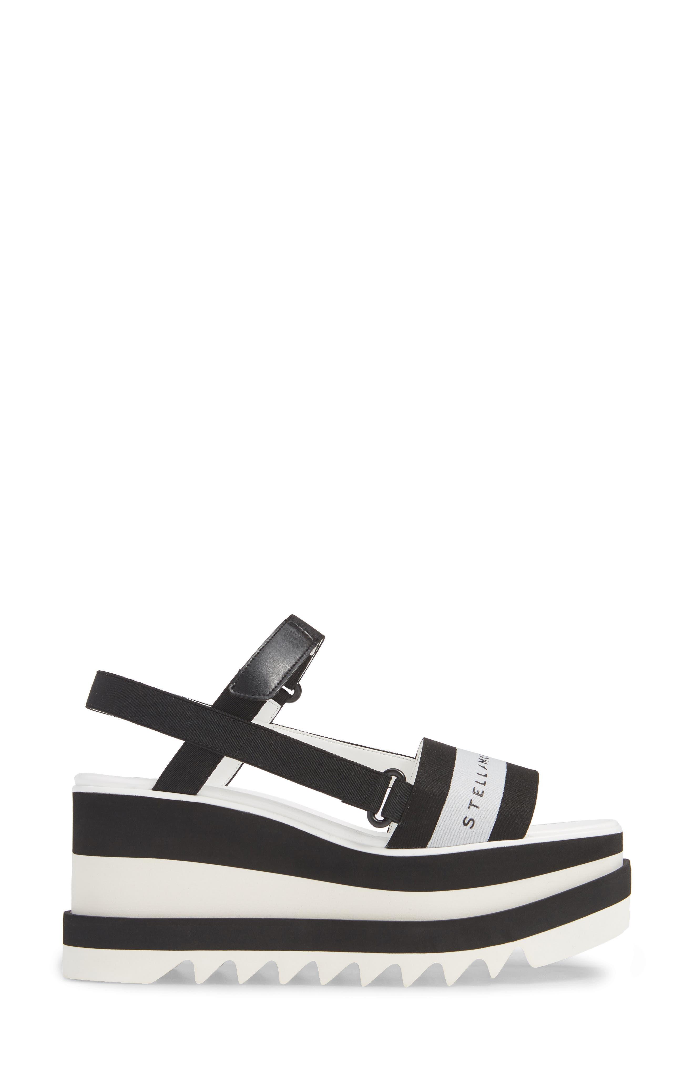 Stripe Logo Platform Sandal,                             Alternate thumbnail 3, color,                             BLACK/ WHITE
