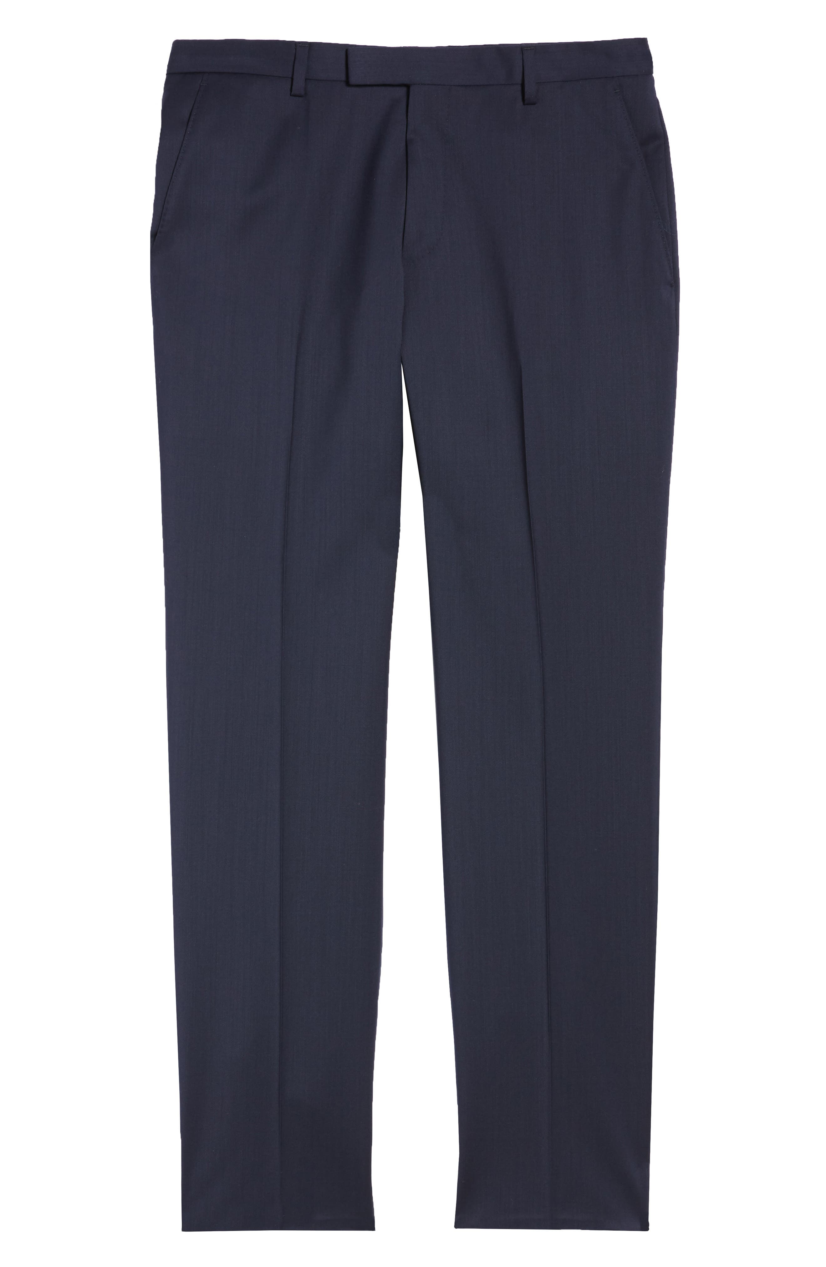 Leenon Flat Front Regular Fit Solid Wool Trousers,                             Alternate thumbnail 6, color,                             NAVY