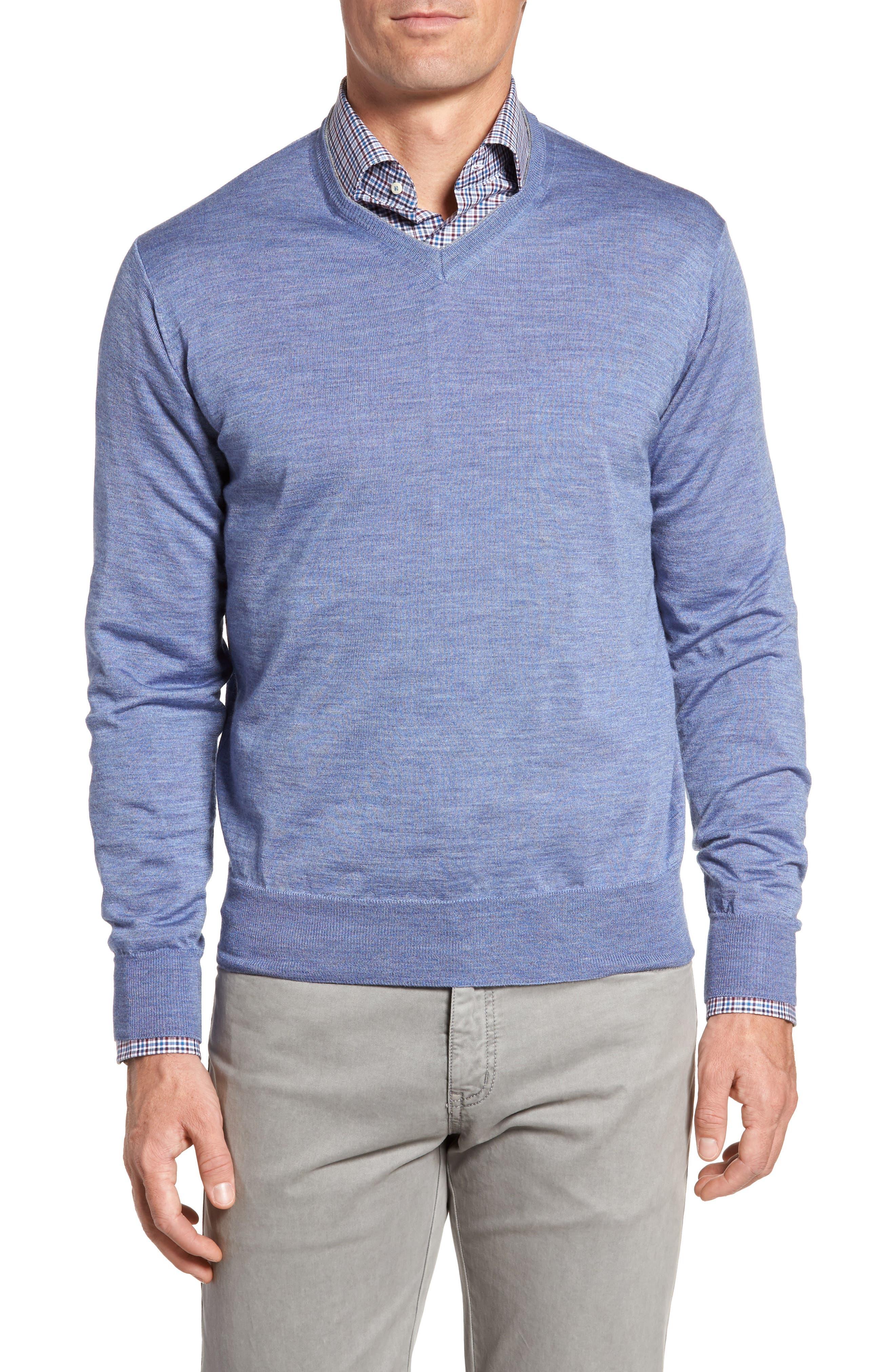 Merino Wool & Silk V-Neck Sweater,                         Main,                         color, 439