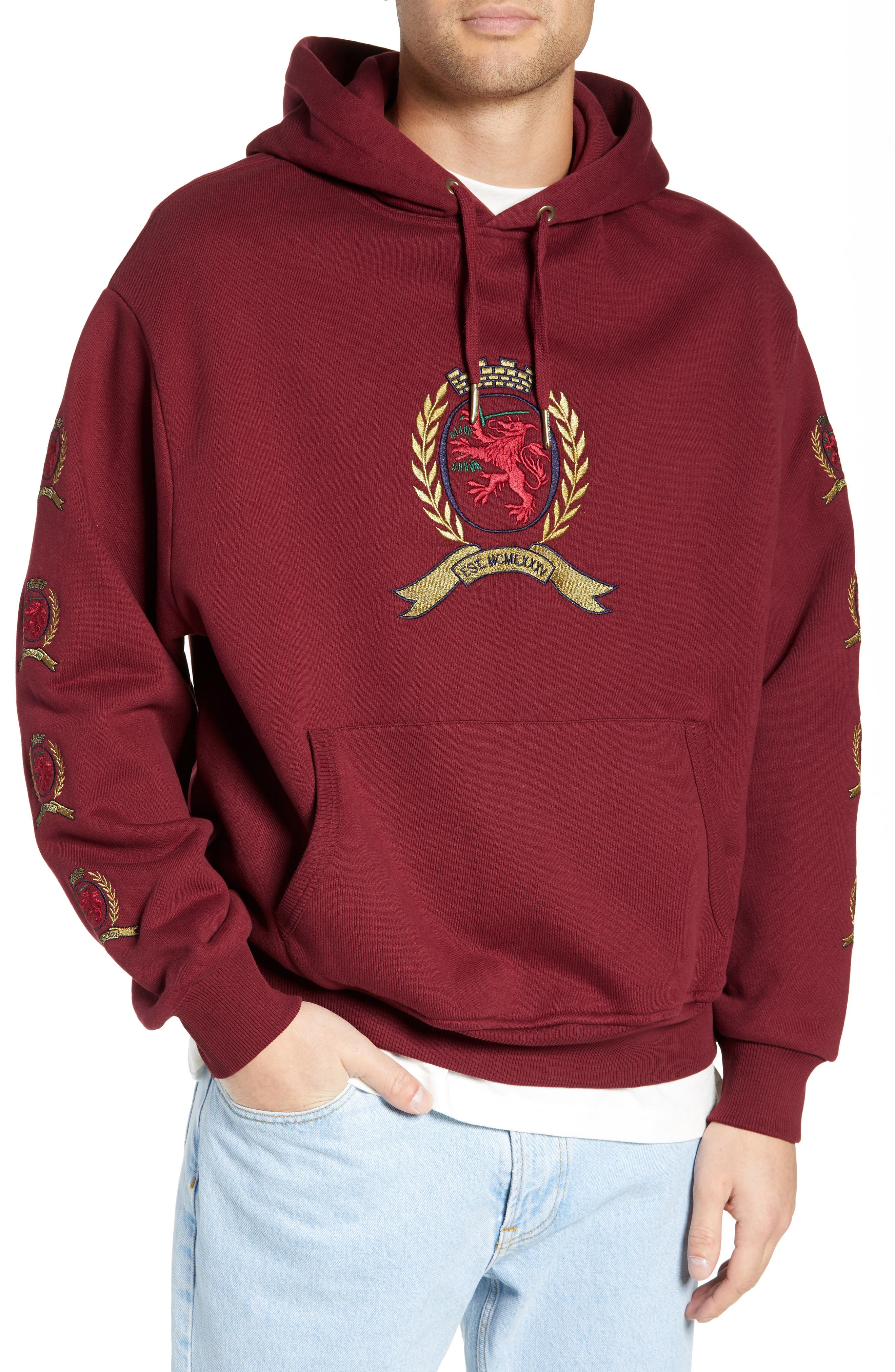 Embroidered Crest Logo Hoodie,                         Main,                         color, CABERNET