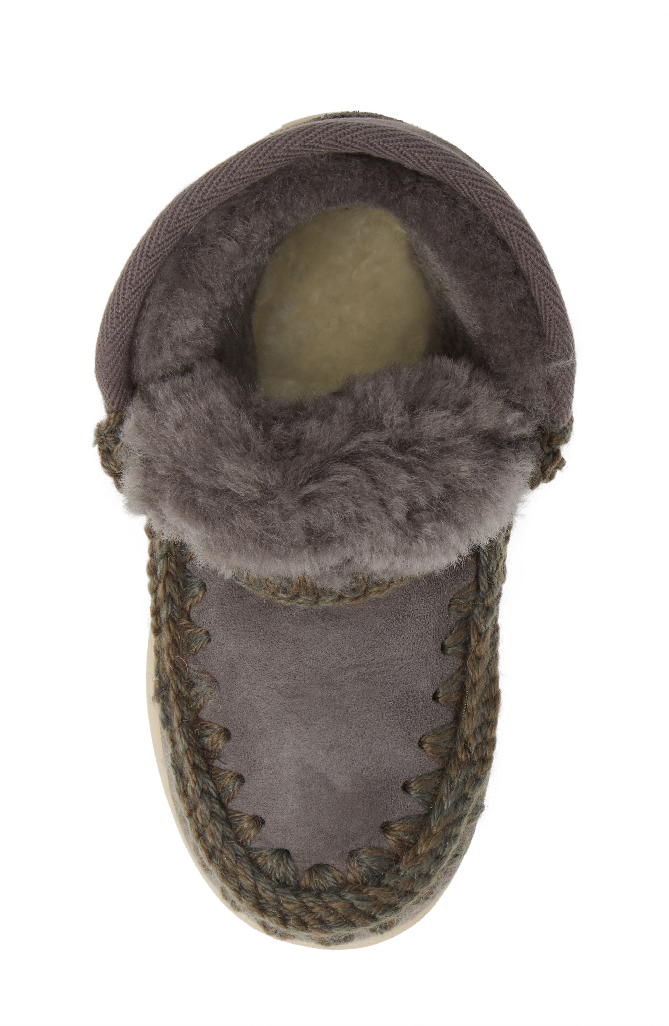 MOU,                             Embellished Genuine Shearling Sneaker Boot,                             Alternate thumbnail 5, color,                             IRON