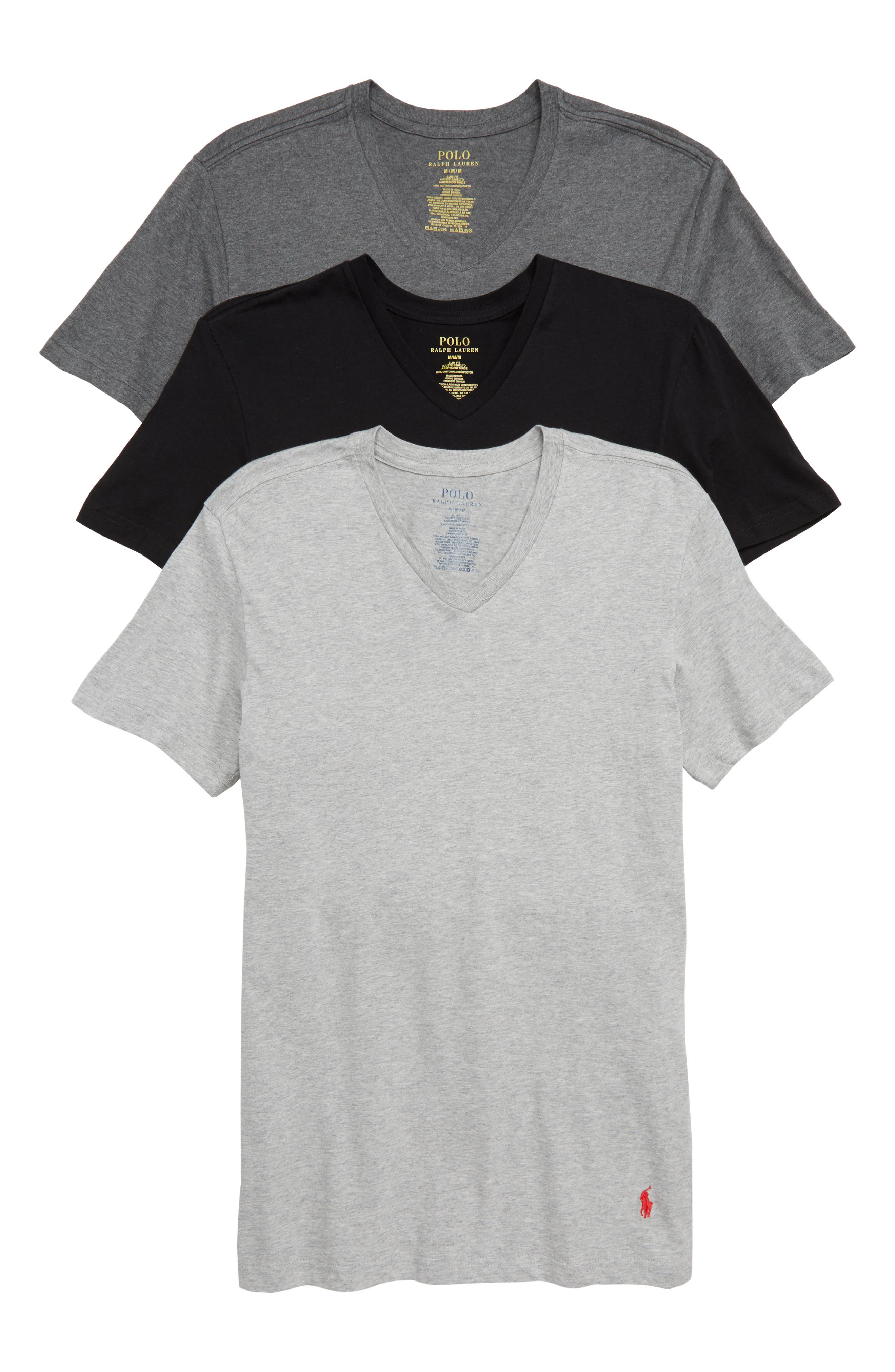 Polo Ralph Lauren 3-Pack Slim Fit V-Neck T-Shirts,                             Main thumbnail 1, color,                             BLACK/ GREY/ CHARCOAL