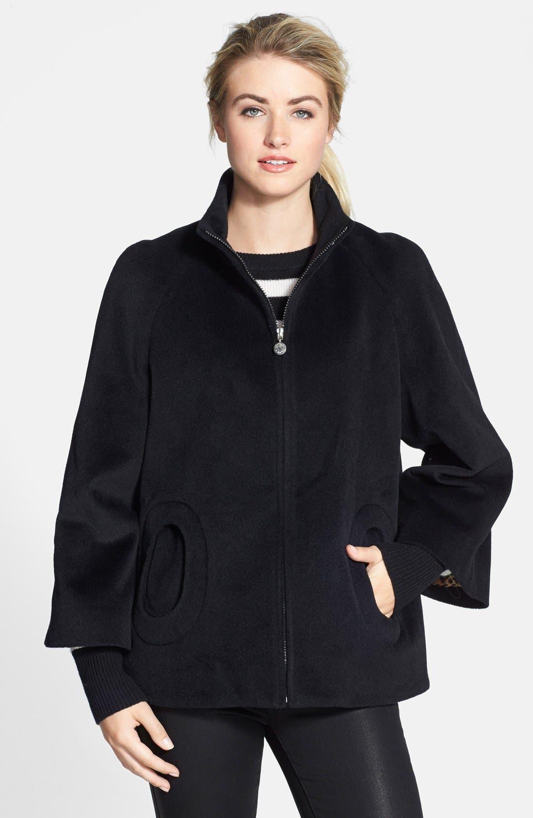 BETSEY JOHNSON 'Toggle' Flyaway Wool & Angora Blend Coat, Main, color, 001