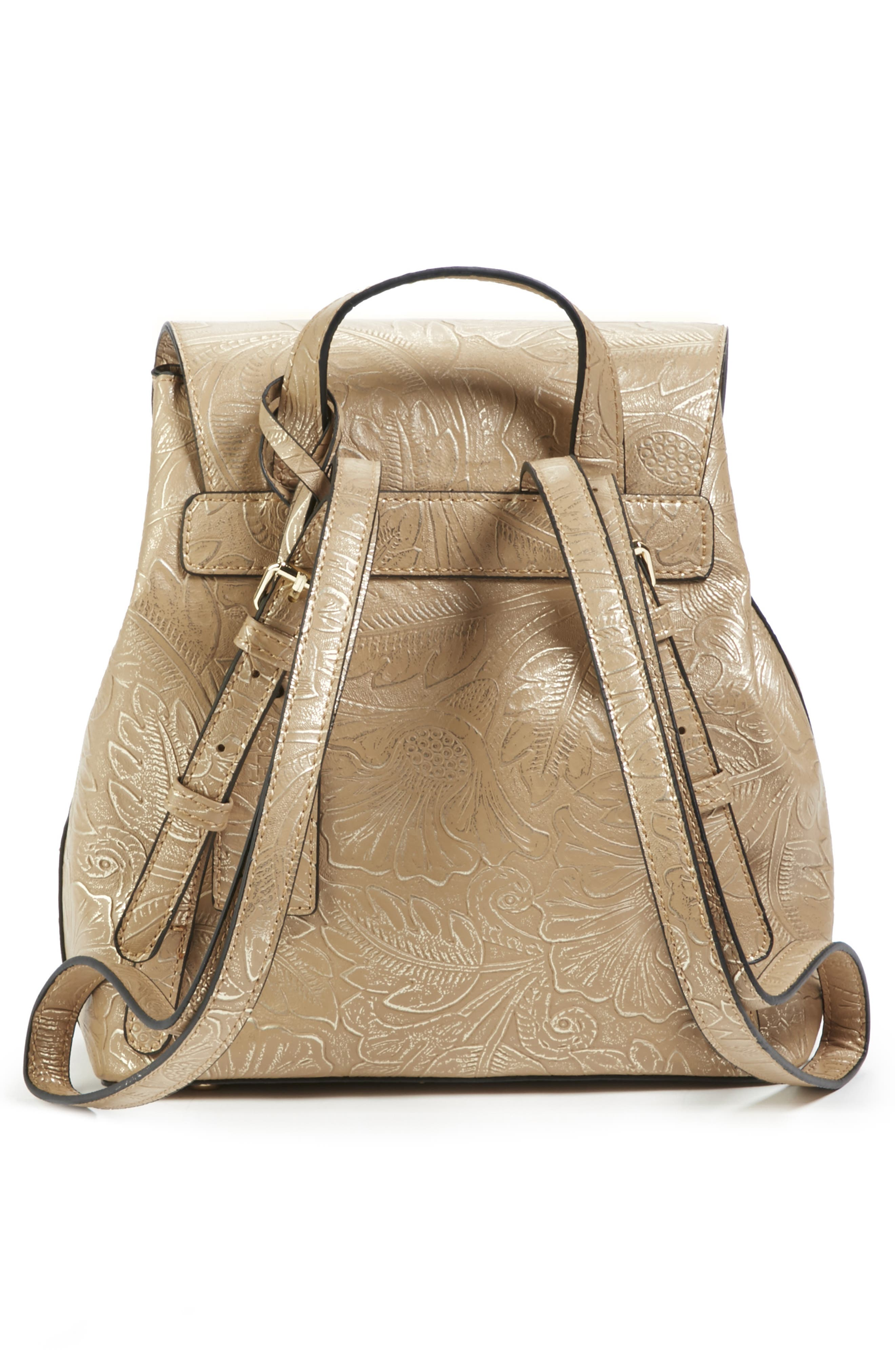 Hawna Faux Leather Backpack,                             Alternate thumbnail 2, color,                             METALLIC SAFARI