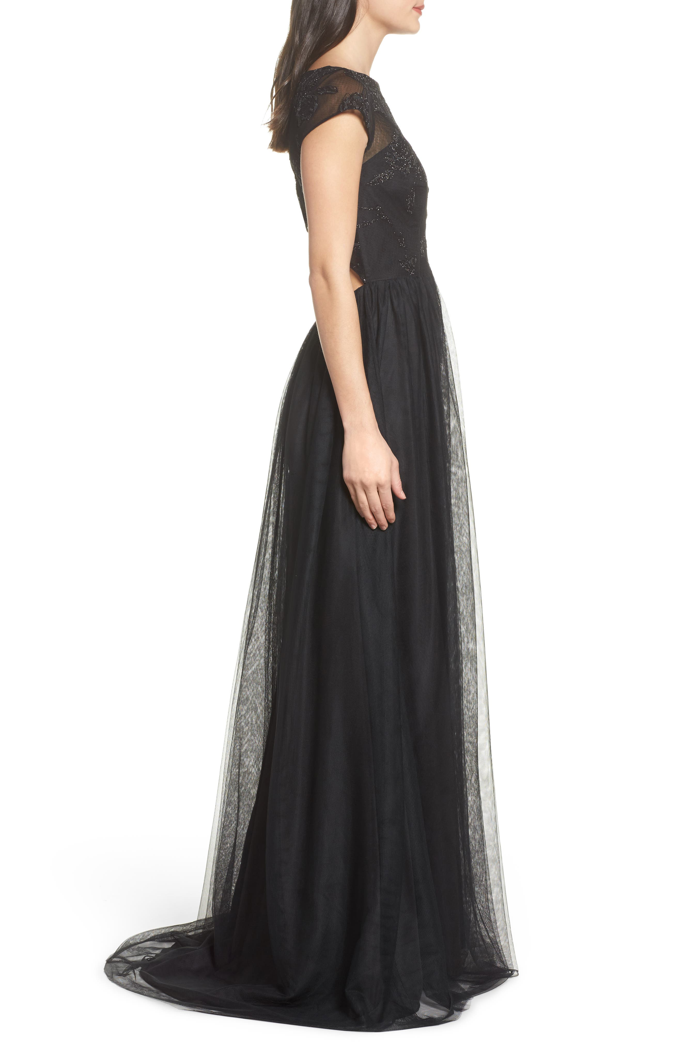Embroidered Bodice Net Gown,                             Alternate thumbnail 3, color,                             002