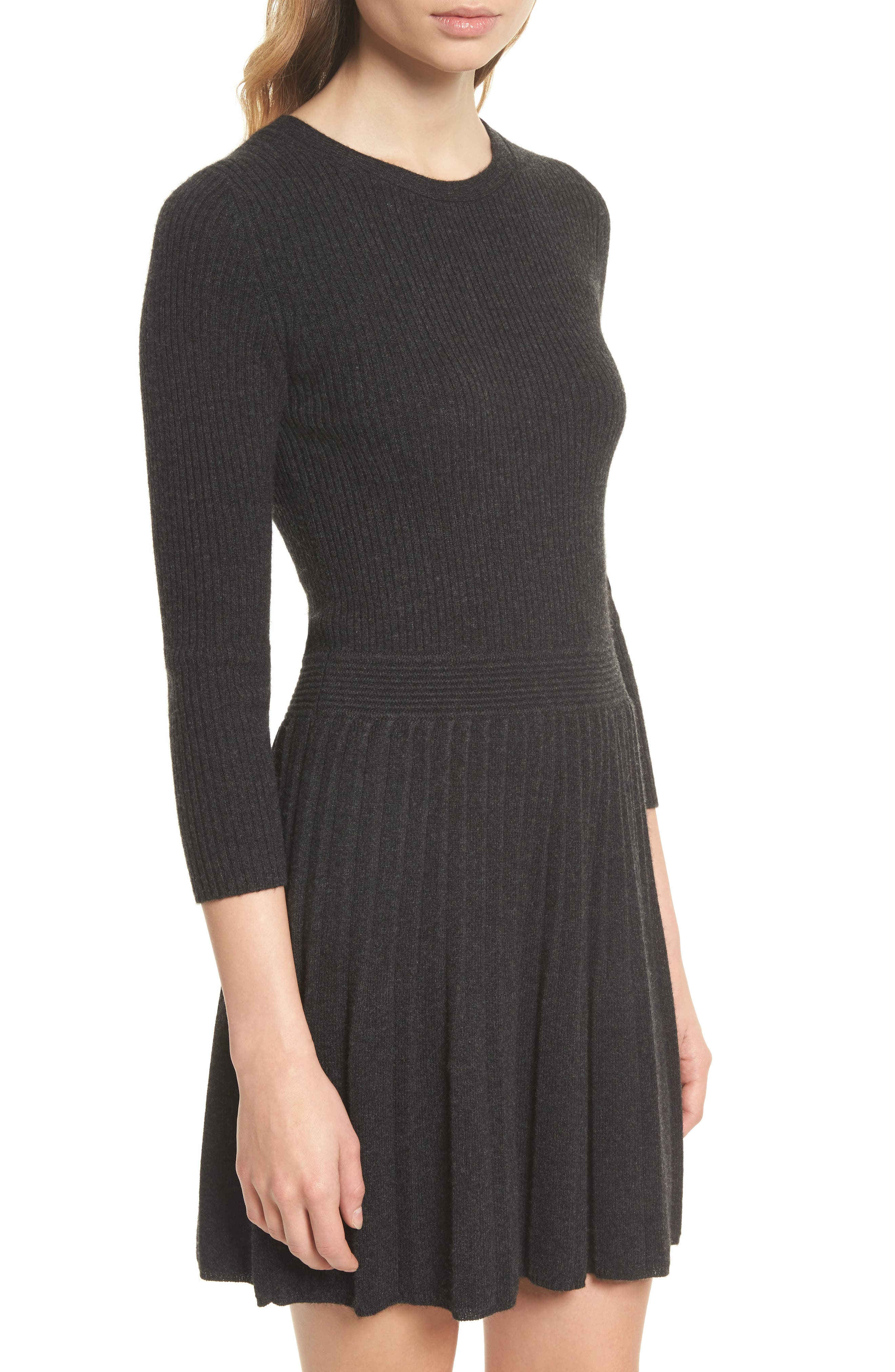 Peronne B Knit Wool & Cashmere Fit & Flare Dress,                             Alternate thumbnail 4, color,                             071