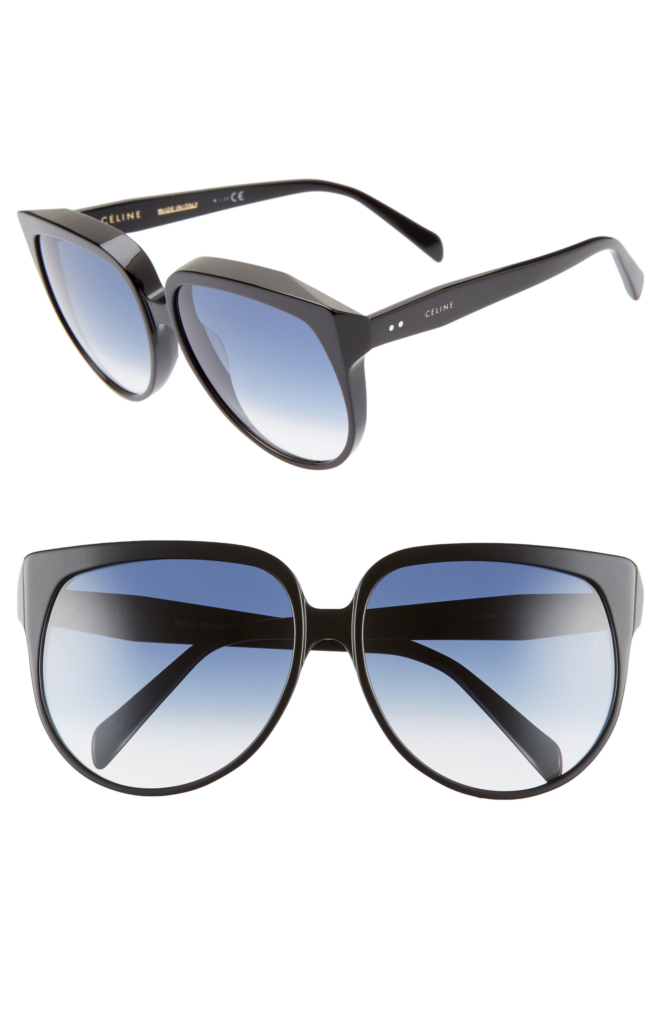 62Mm Special Fit Oversize Cat Eye Sunglasses - Shiny Black/ Blue Gradient