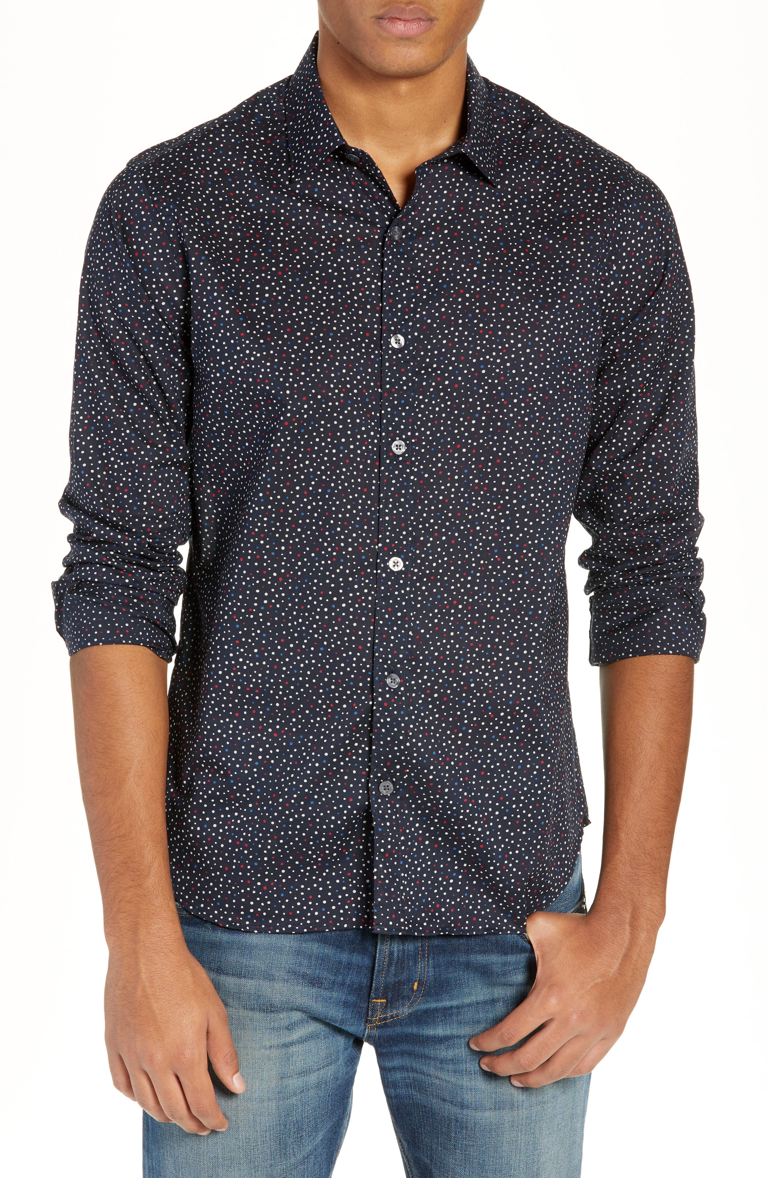 Jenks Slim Fit Long Sleeve Sport Shirt, Main, color, BLACK