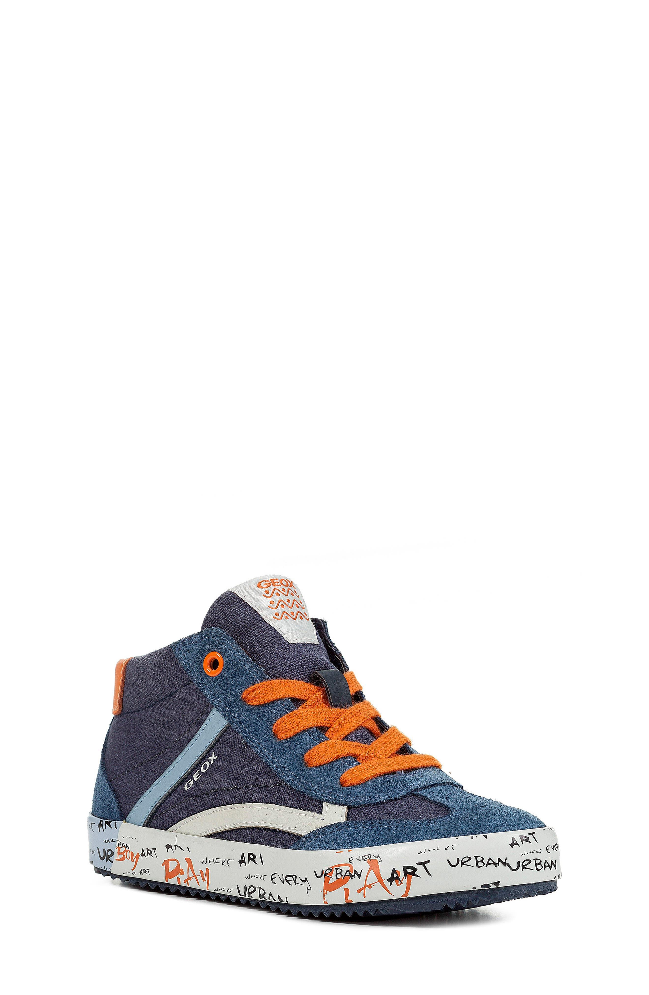 Alonisso 34 High Top Sneaker,                             Main thumbnail 1, color,                             NAVY/ DARK ORANGE