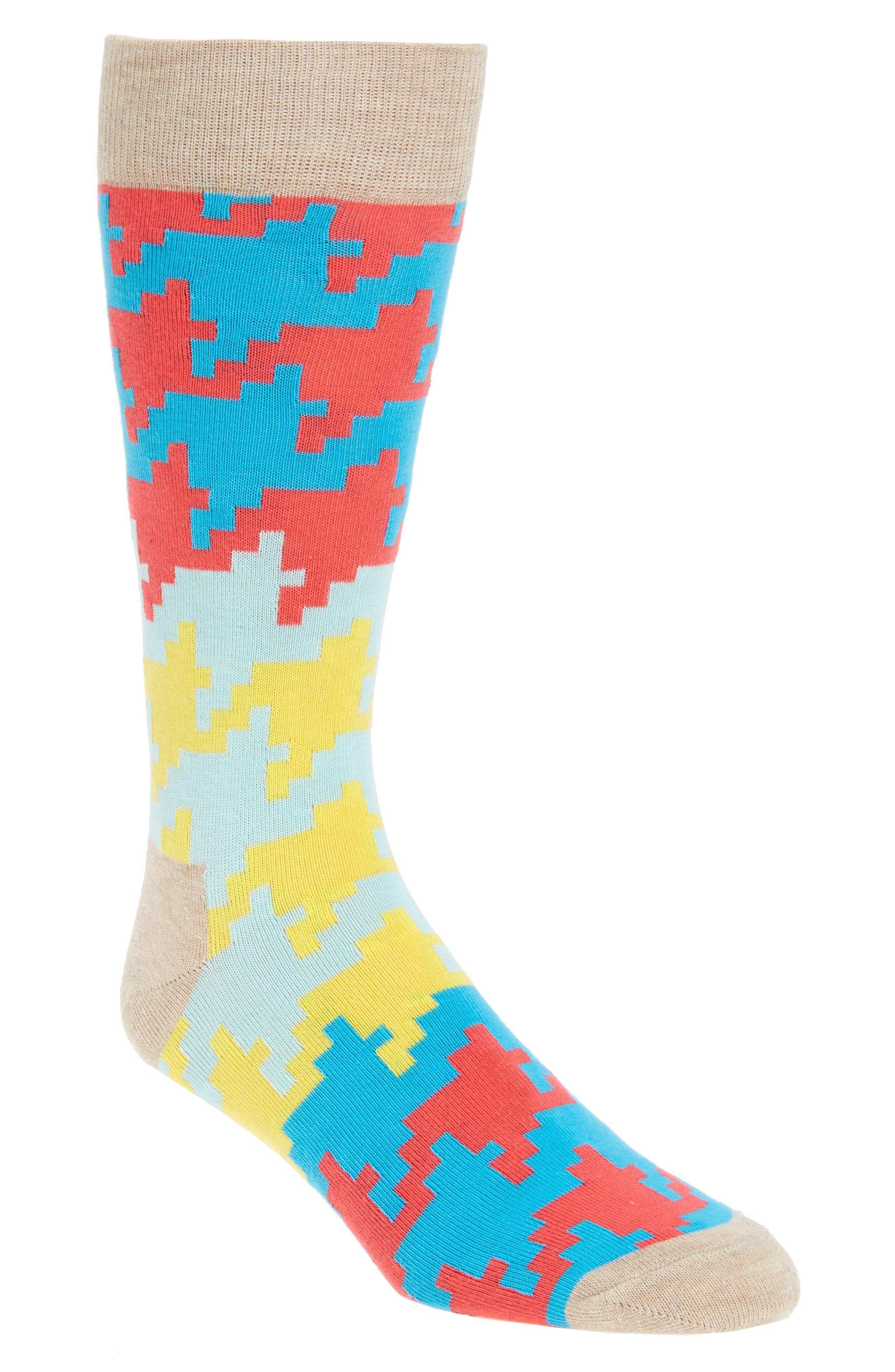 Digital Houndstooth Socks,                             Main thumbnail 2, color,
