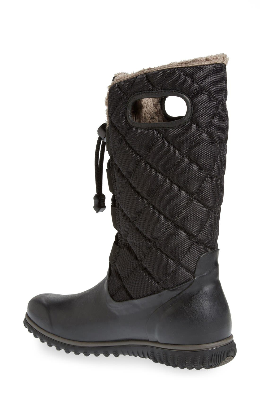 'June' Lace High Waterproof Quilted Boot,                             Alternate thumbnail 2, color,                             001