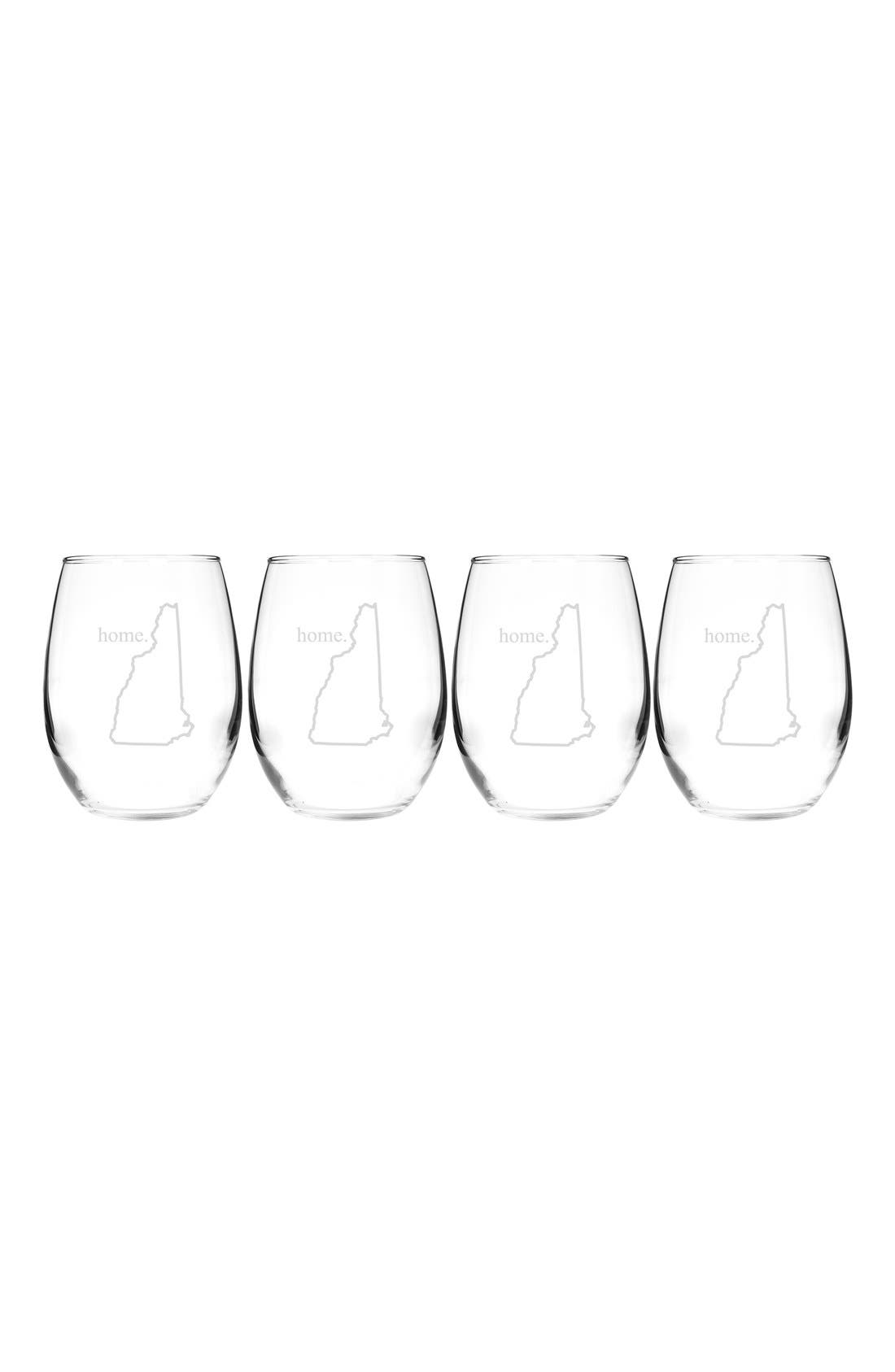 Home State Set of 4 Stemless Wine Glasses,                             Main thumbnail 31, color,