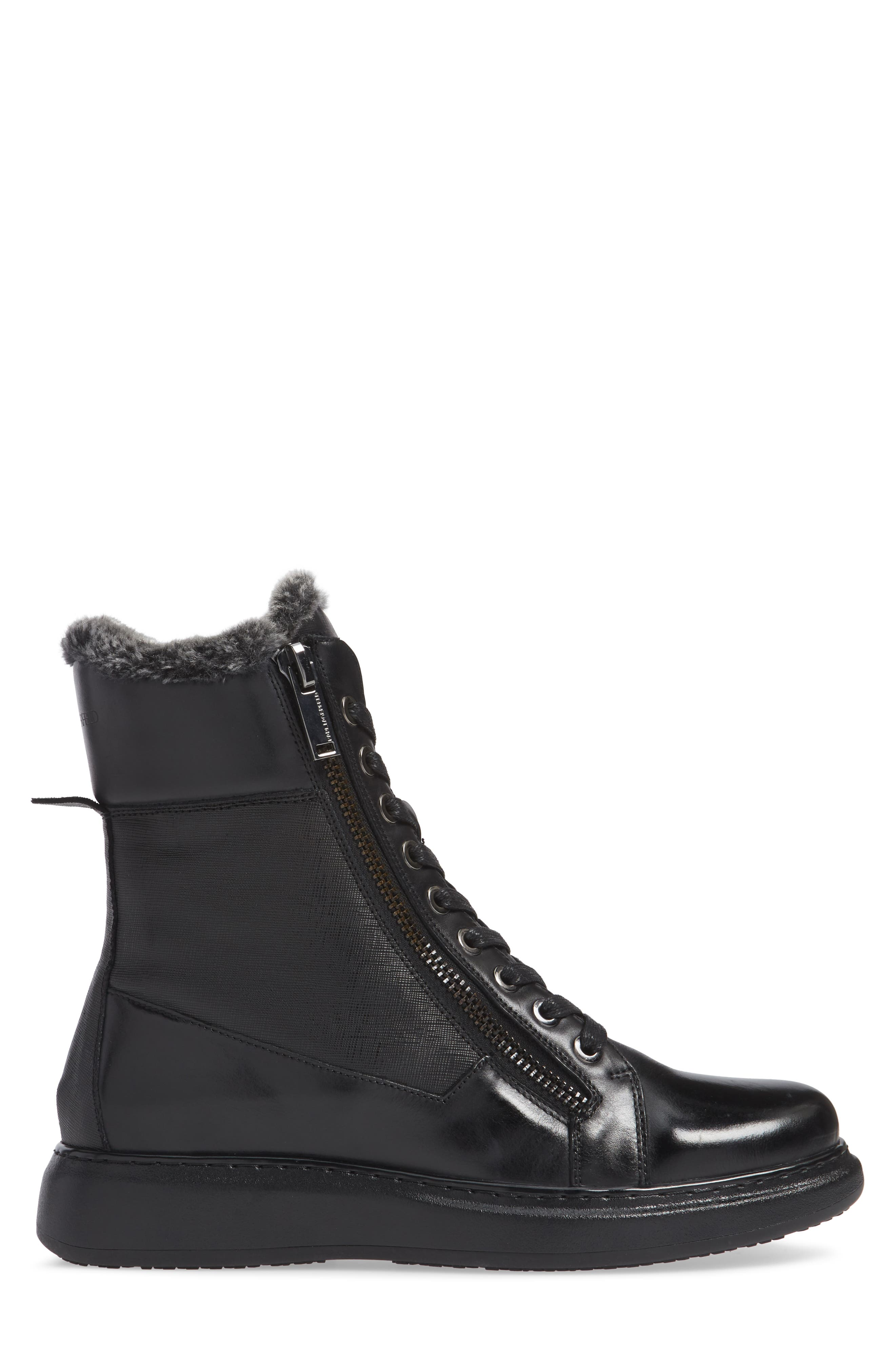 Lace-Up Boot with Faux Fur,                             Alternate thumbnail 3, color,                             001