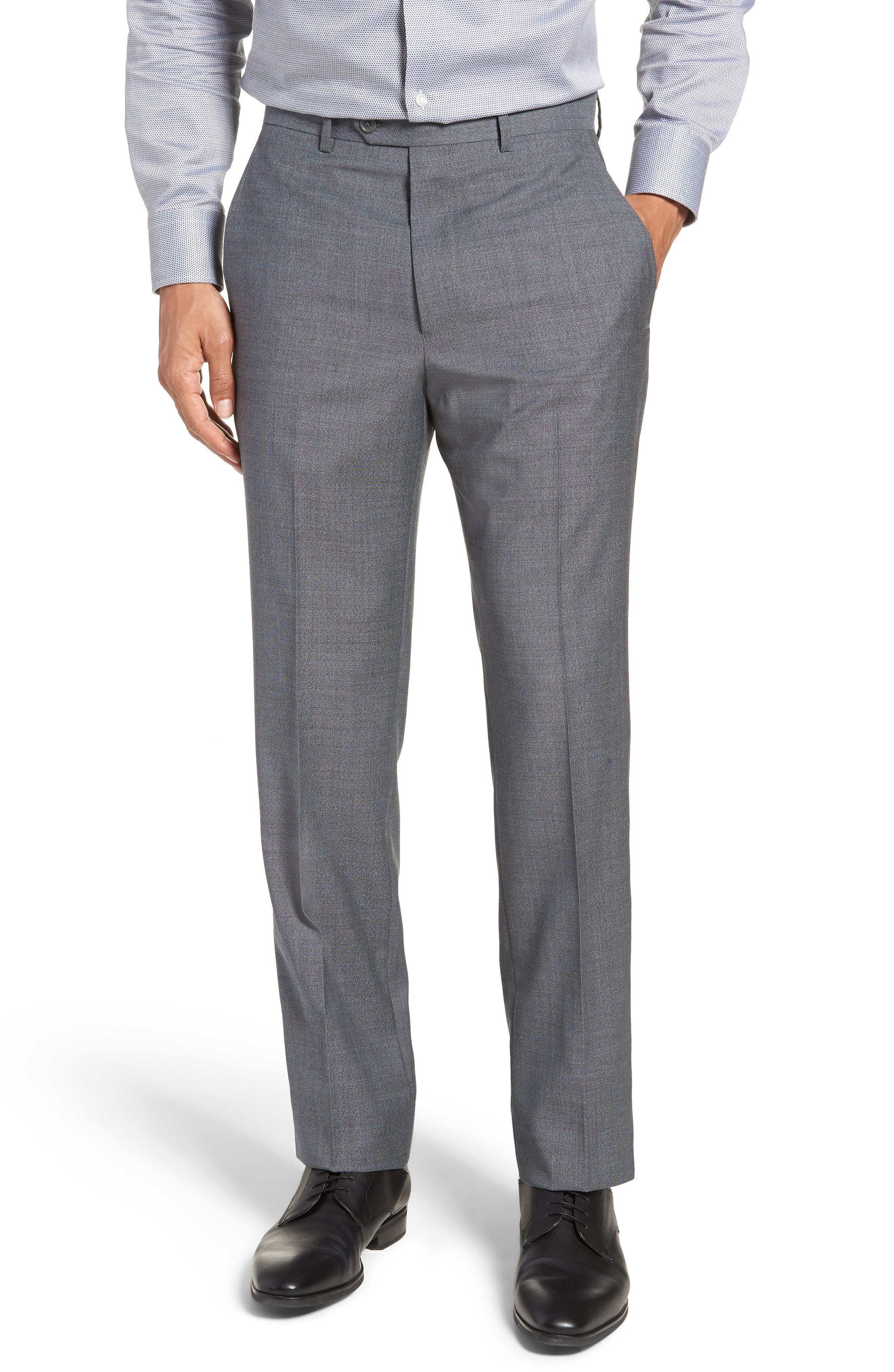 SANTORELLI Flat Front Solid Wool Trousers, Main, color, 020