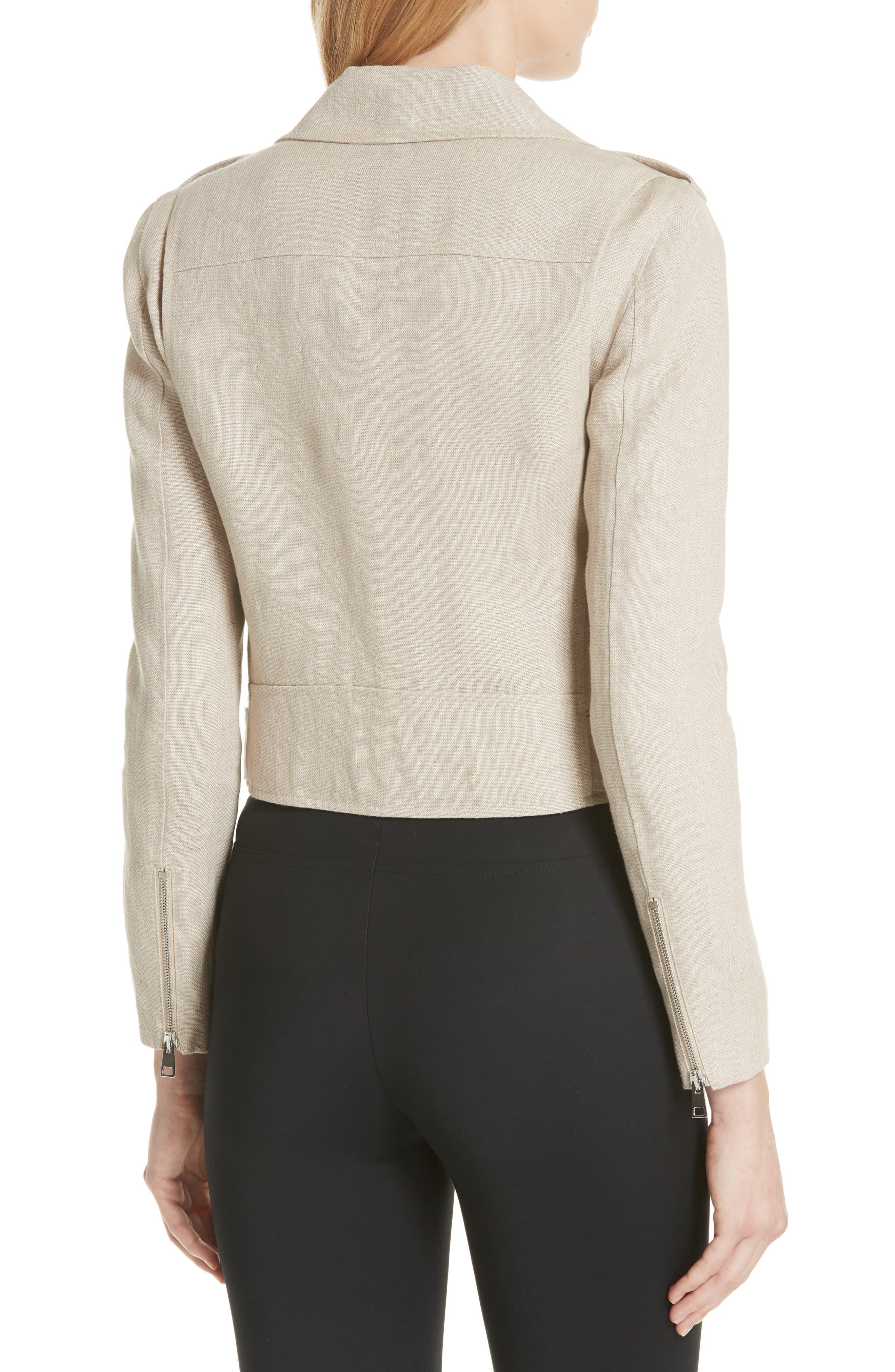 Shrunken Linen Moto Jacket,                             Alternate thumbnail 2, color,