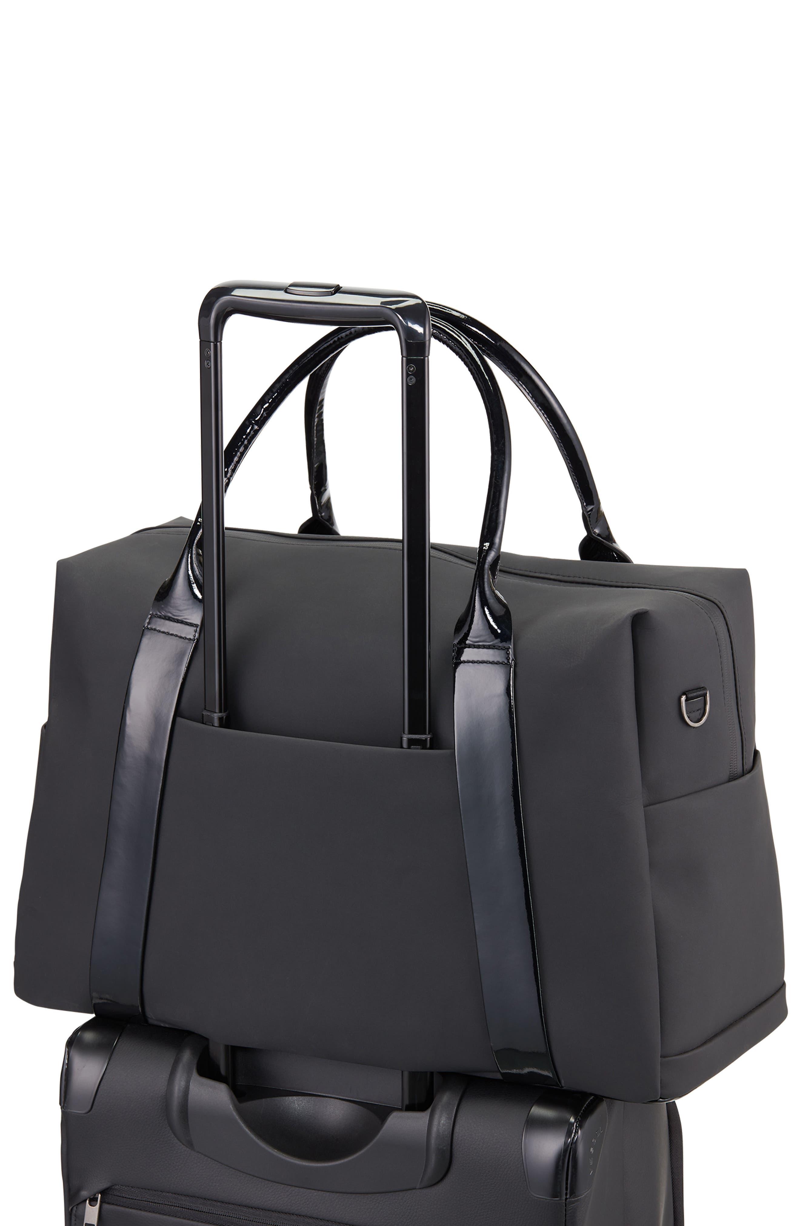 Signature 2.0 Faux Leather Duffel Bag,                             Alternate thumbnail 4, color,                             MATTE/ PATENT BLACK