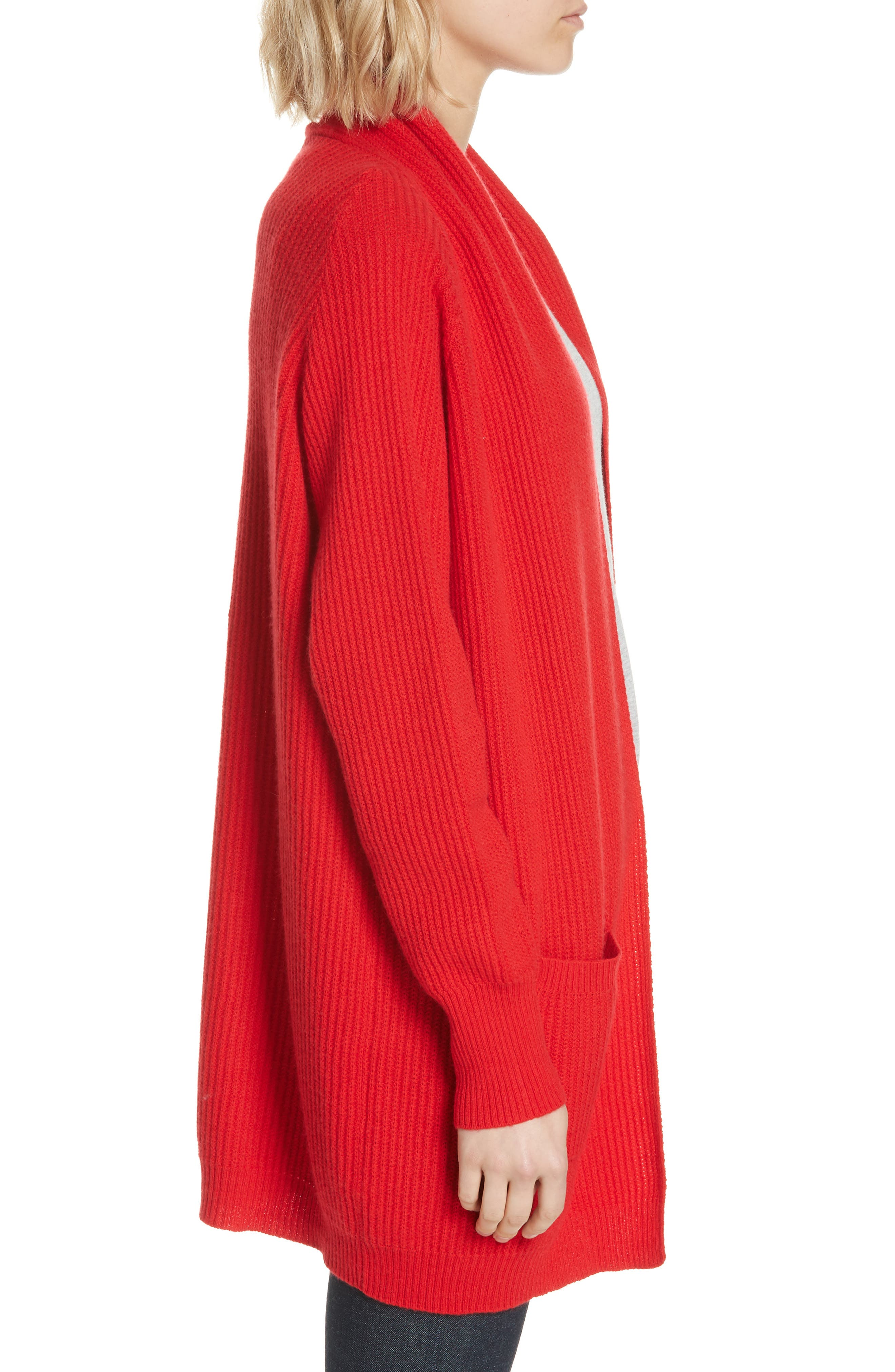 Cashmere Cardigan,                             Alternate thumbnail 3, color,                             RED
