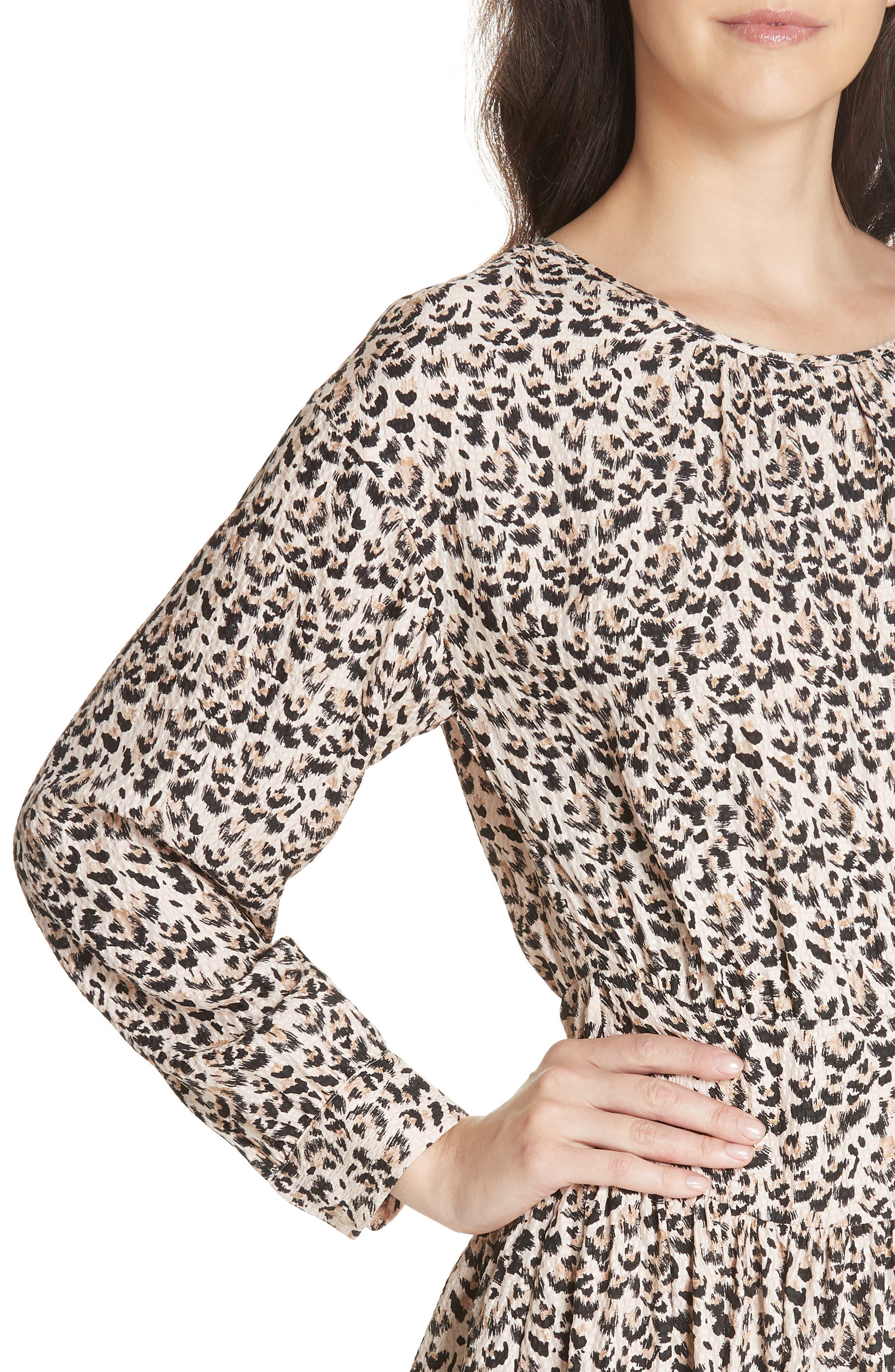 Leopard Print Silk Dress,                             Alternate thumbnail 4, color,                             CARAMEL COMBO